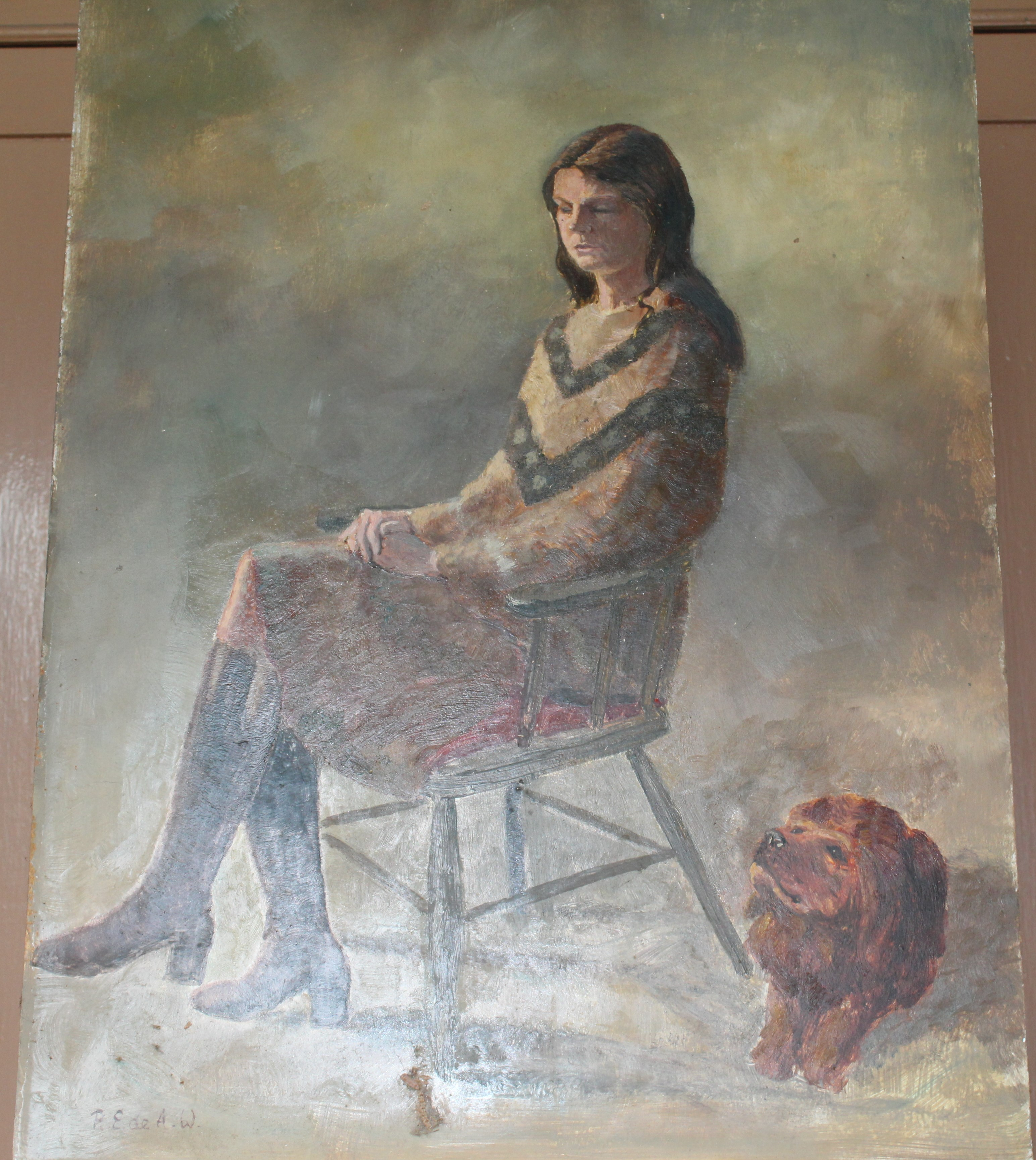•DAY DREAM, WOMAN SEATED WEARING RED JACKET AND DRESS Signed unframed oil on board, 60 x 44.3cm, - Image 4 of 6