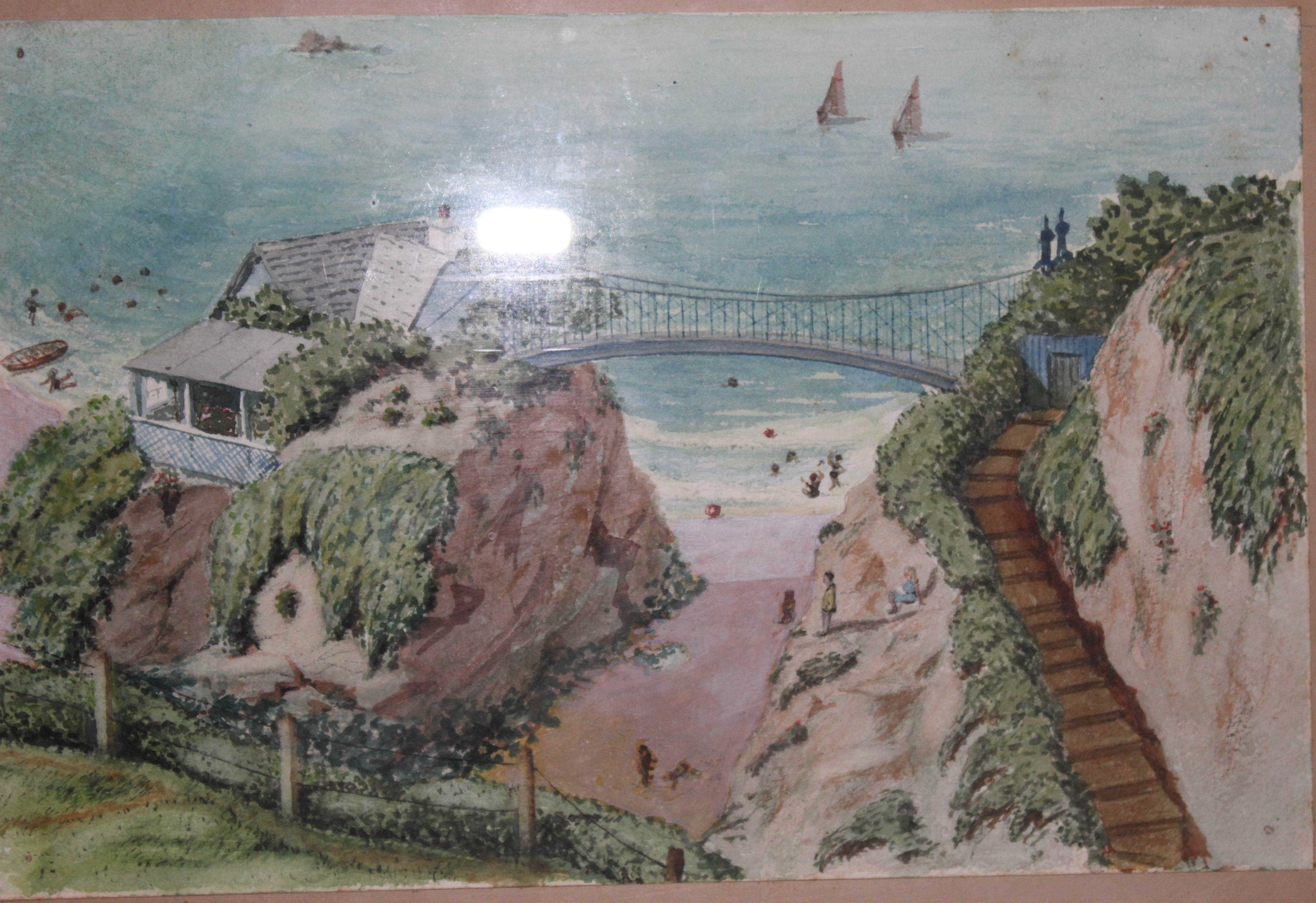 •BIDEFORD, WOMAN, CHILD AND DOG BESIDE RIVER Unsigned framed watercolour, 22.5 x 29cm, CALSTOCK - Image 2 of 3