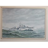 •Eric Erskine Campbell Tufnell (1888-1978) HMS EASTON L 09 ESCORT DESTROYER WITH OTHER VESSELS IN