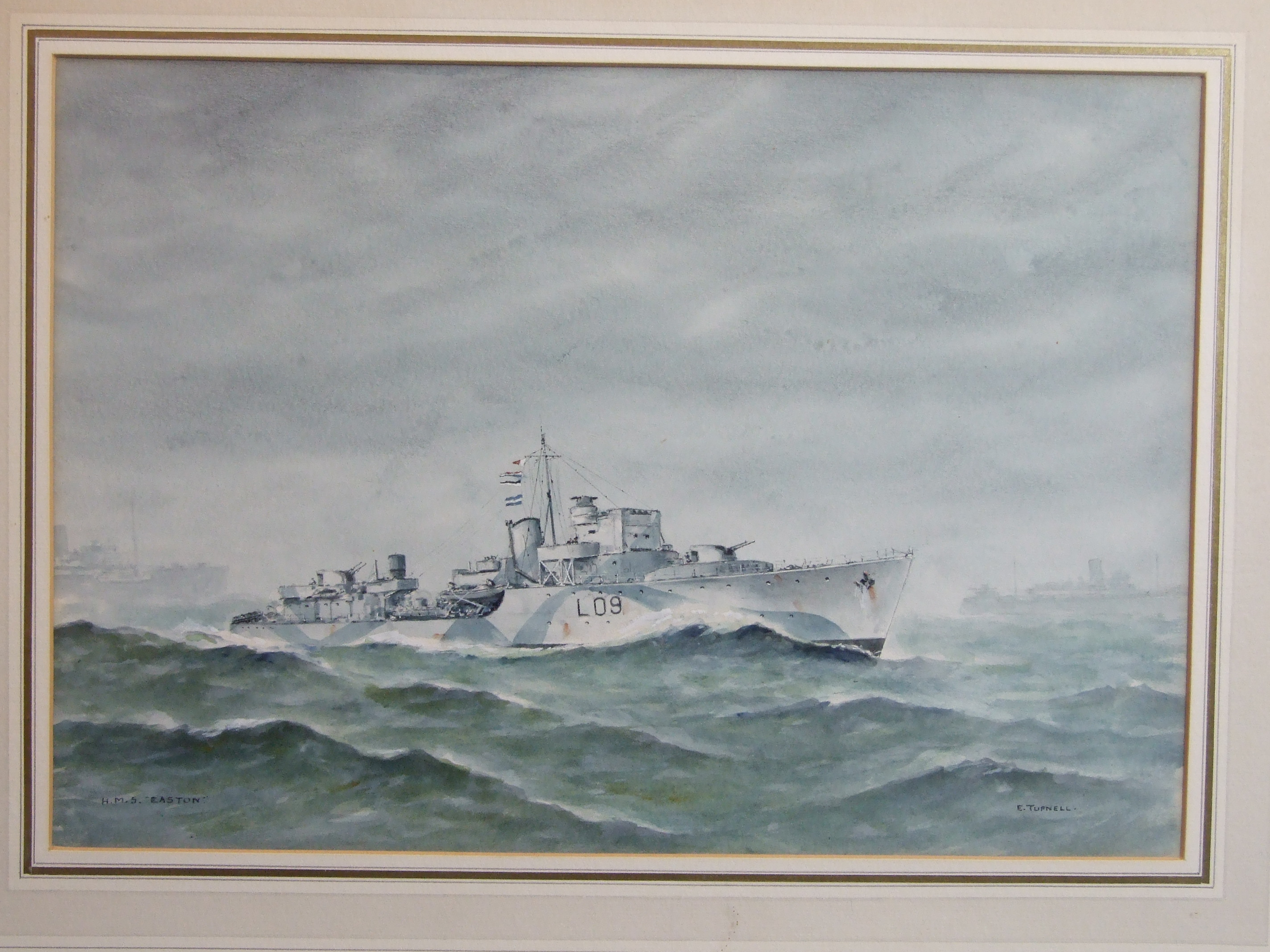 Lot 57 - •Eric Erskine Campbell Tufnell (1888-1978) HMS EASTON L 09 ESCORT DESTROYER WITH OTHER VESSELS IN