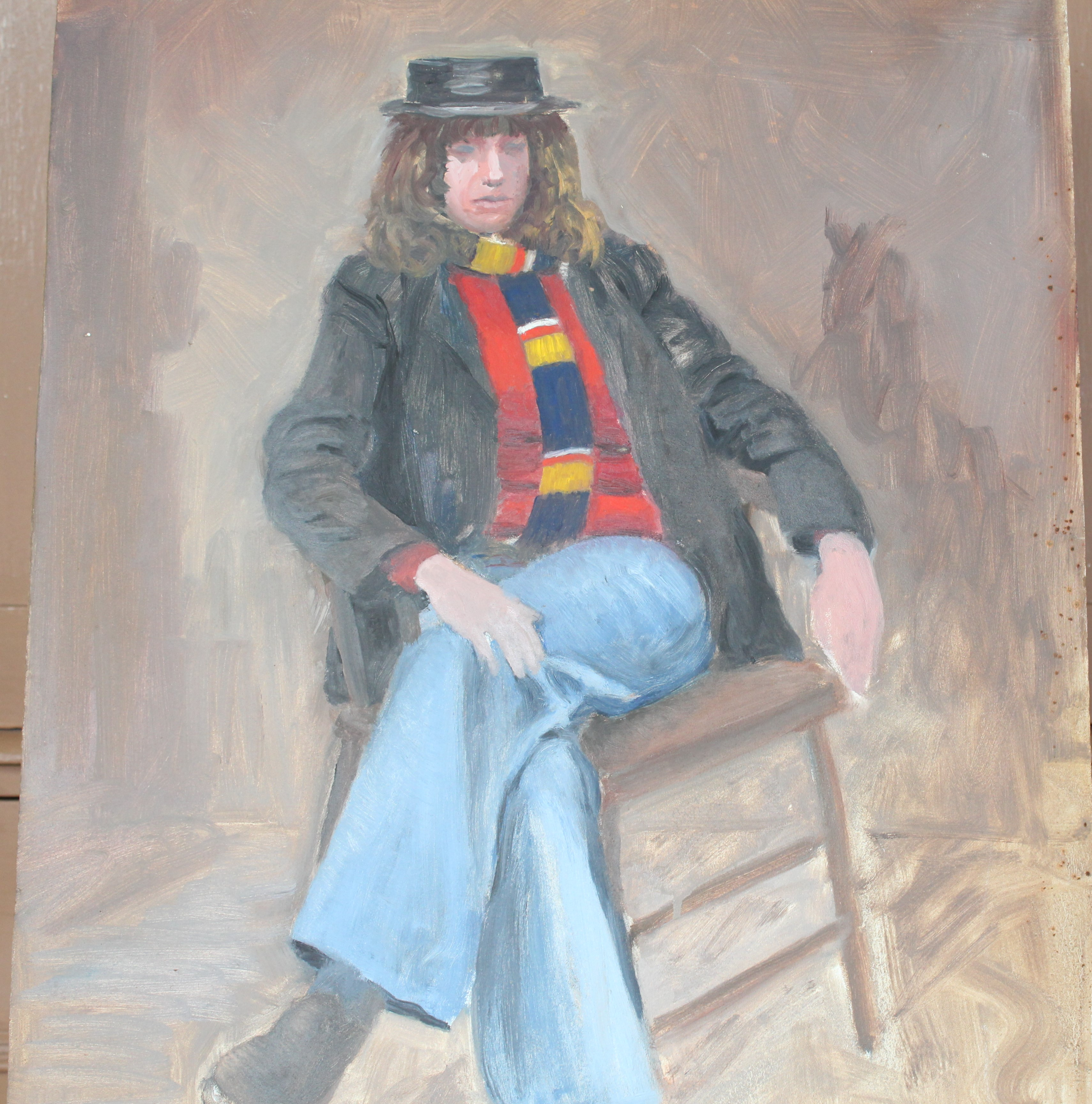 •YOUNG WOMAN SEATED ON CHAISE LONGUE Unsigned unframed oil on board, 61 x 45cm and six other oils of - Image 4 of 7