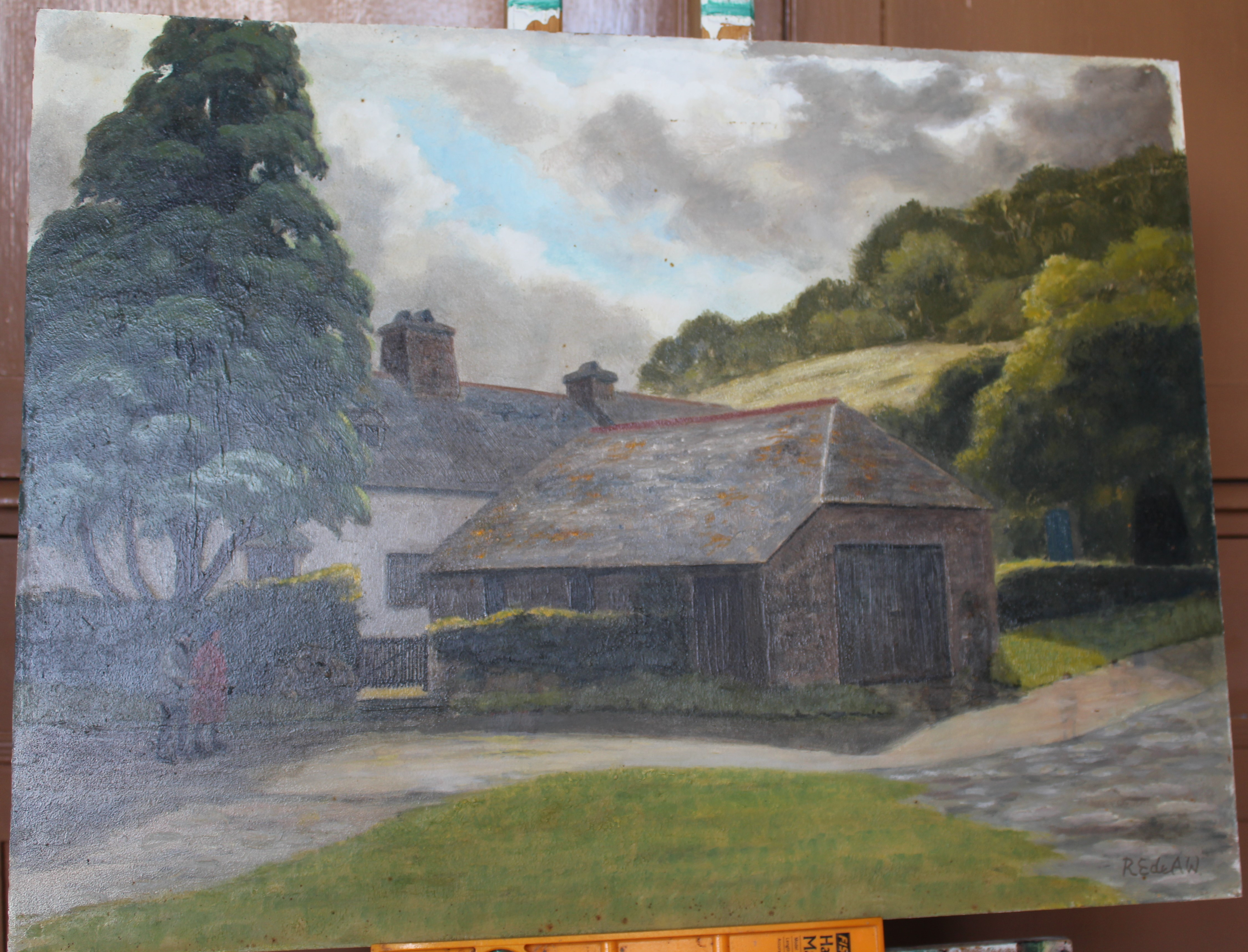•FIGURES OUTSIDE A FARM BUILDING Signed unframed oil on board, 45.5 x 60.5cm and two other oils on