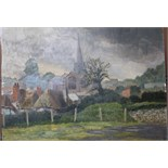 •HOLBERTON, VIEW OF VILLAGE CHURCH Signed unframed oil on board, 46 x 61cm.