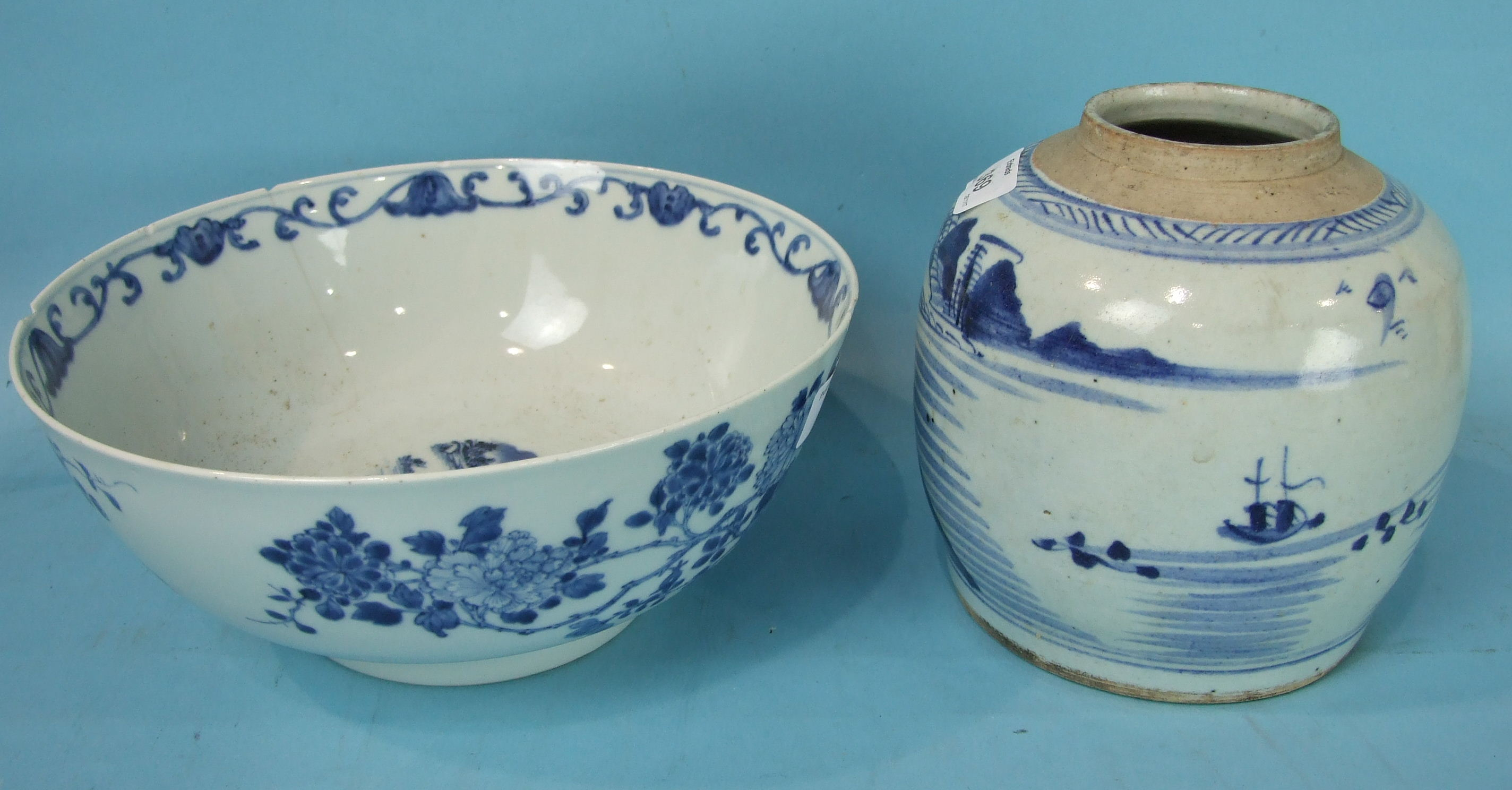 Lot 369 - A large group of 18th and 19th century Chinese plates, a bowl, a jar and a small saucer tureen base,