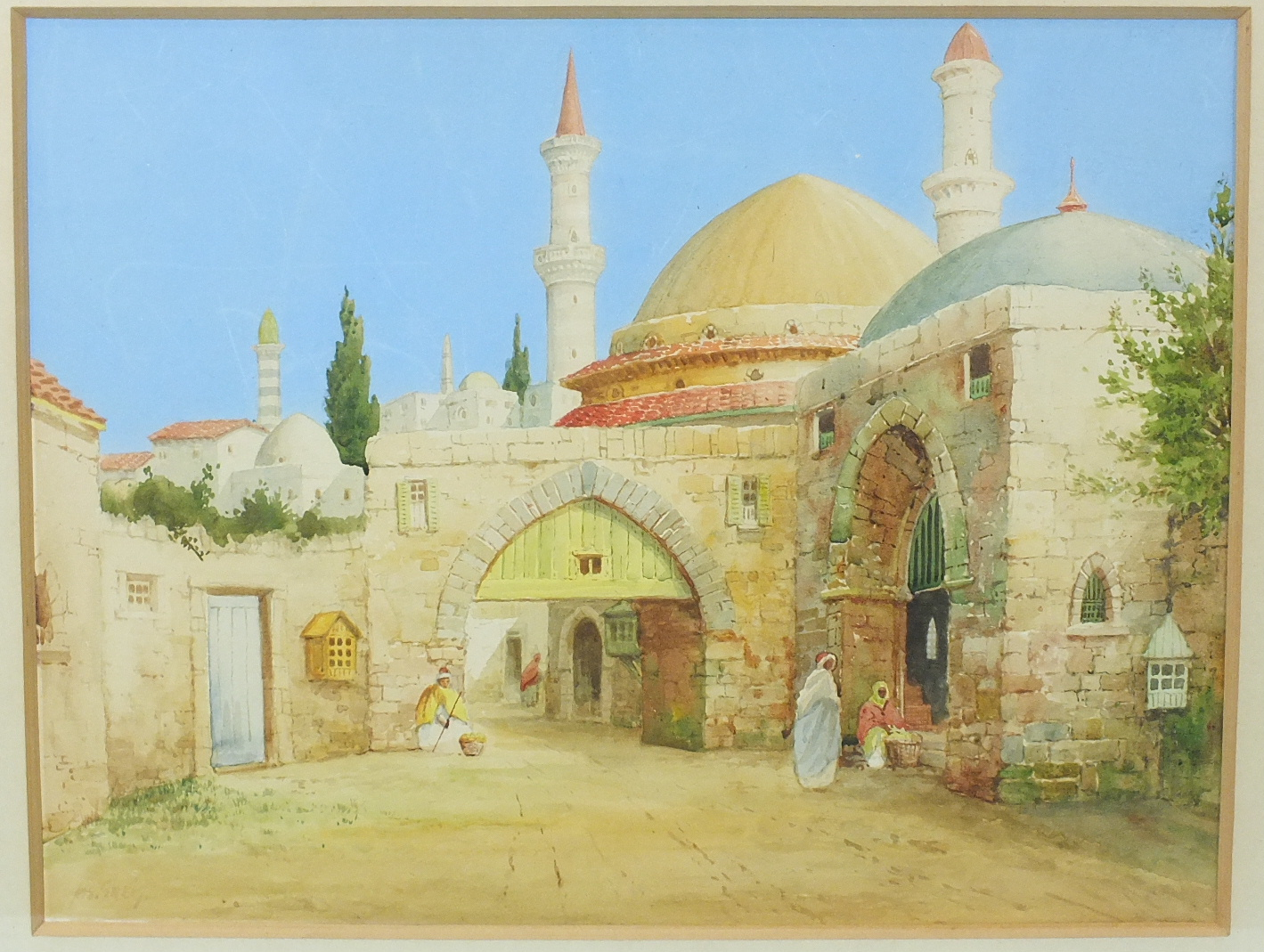 Lot 83 - James Grieg (1861-1941) FIGURES SEATED OUTSIDE A MOORISH CITY GATE Signed watercolour, 28 x 36cm.