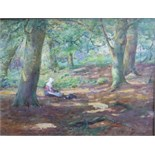 Thomas William Morley (1859-1925) A WOMAN WEARING A WHITE BONNET, WITH A DOG, IN A WOODLAND GLADE