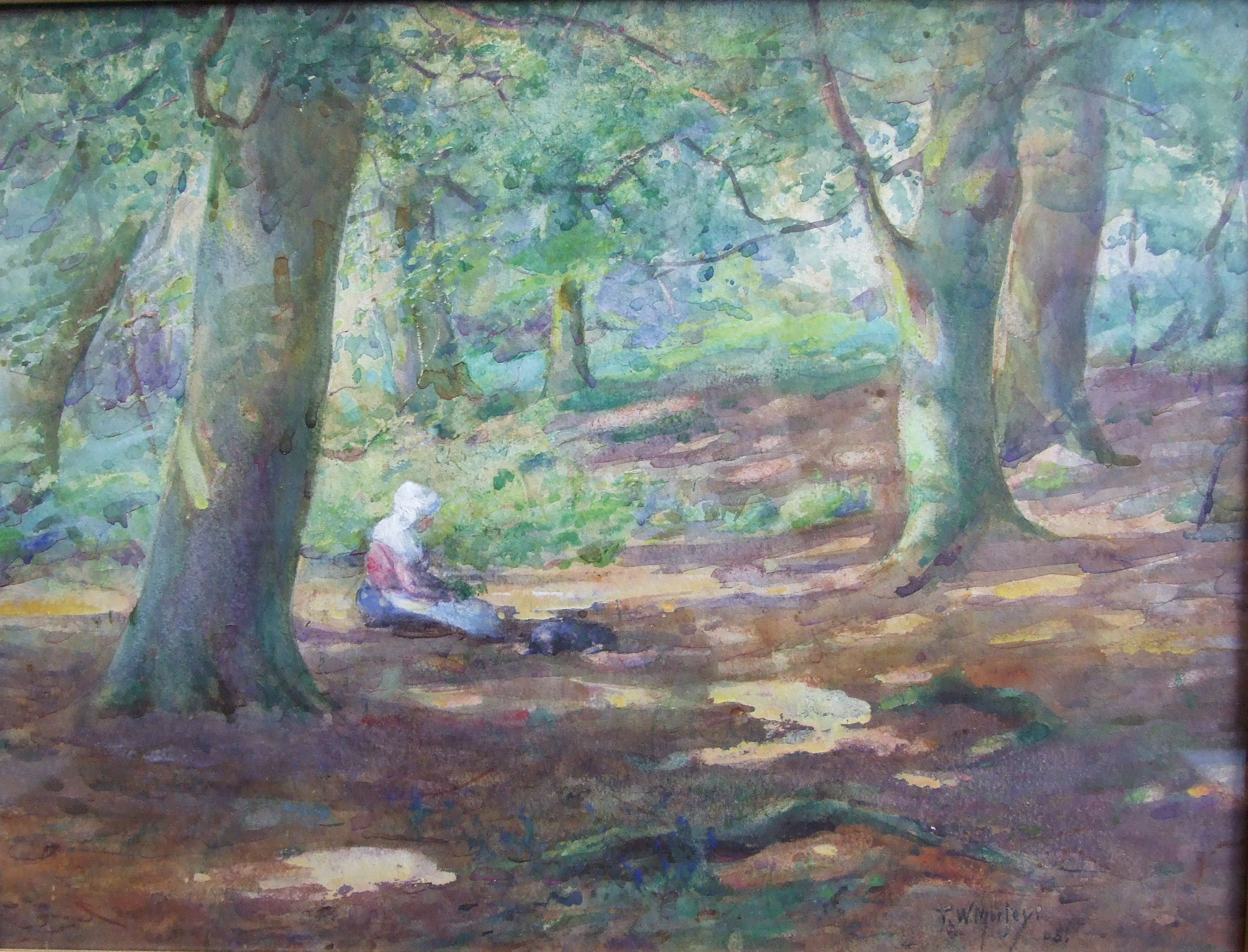 Lot 59 - Thomas William Morley (1859-1925) A WOMAN WEARING A WHITE BONNET, WITH A DOG, IN A WOODLAND GLADE