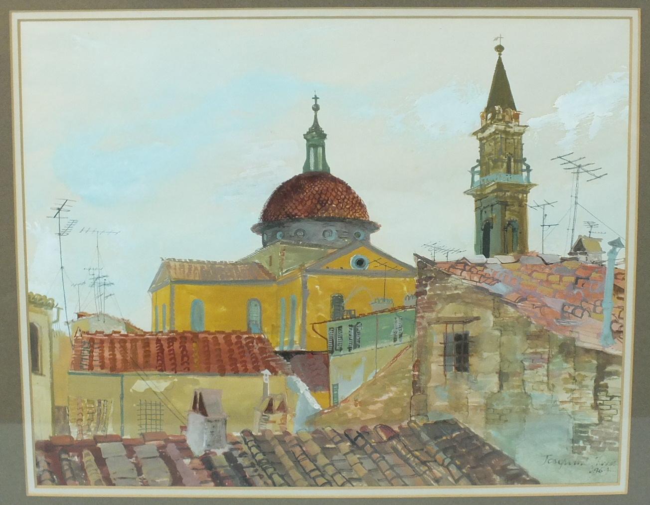 Lot 66 - •Josephine Hams (b. 1931) SANTA SPIRITO, FLORENCE Signed watercolour, dated 1964, 33 x 41cm,