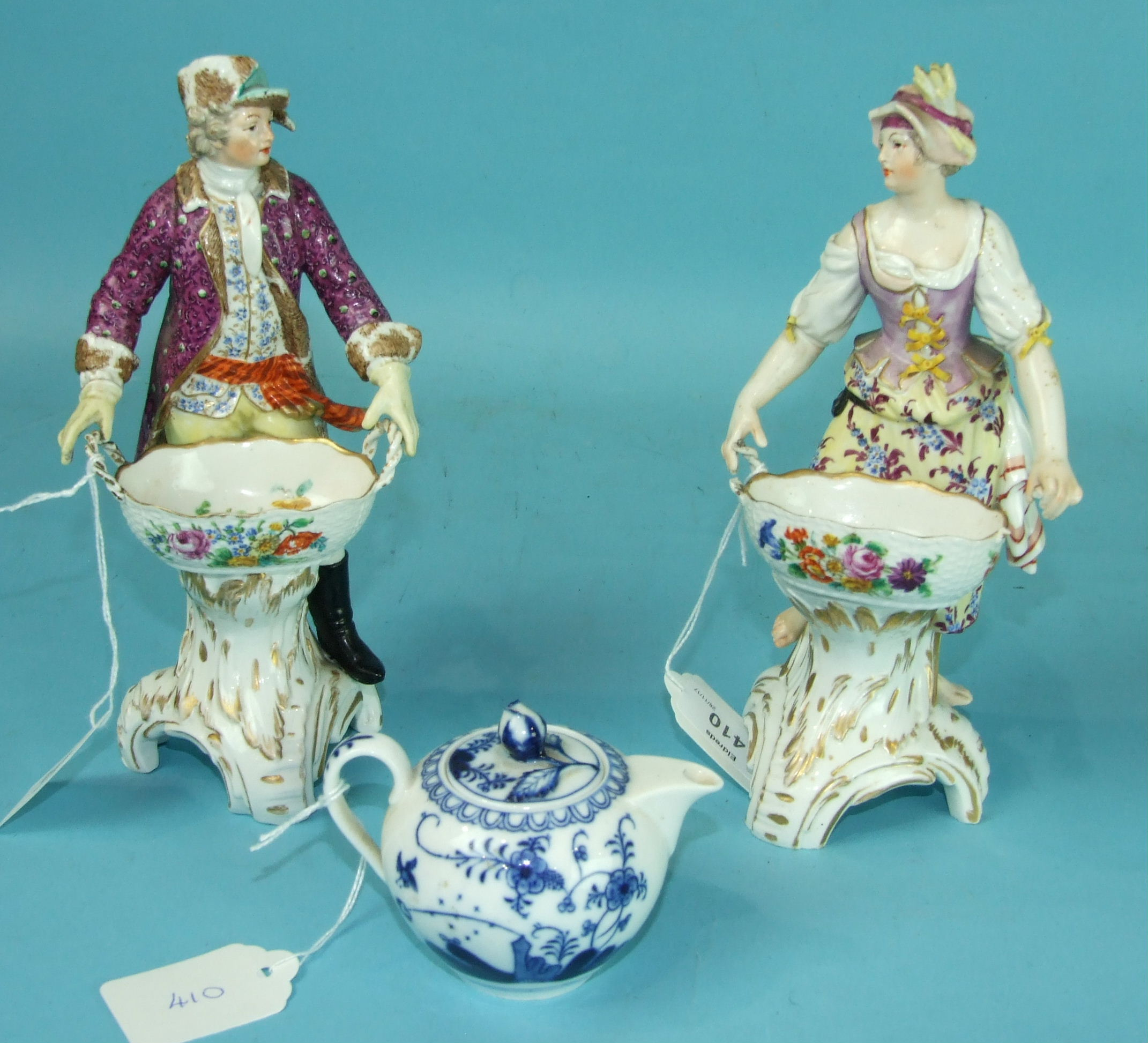 Lot 410 - A pair of Berlin porcelain figures of a lady and her companion, (a/f) and a small Meissen blue and