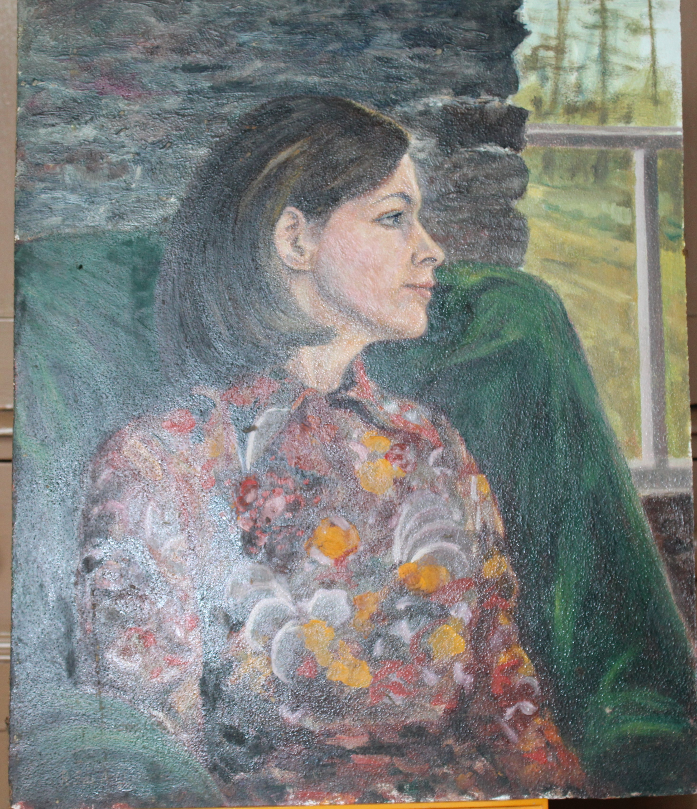 •PORTRAIT OF A WOMAN WEARING A BLUE TOP Unsigned unframed oil on board, 50 x 40.5cm and a collection - Image 6 of 9