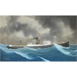 Neapolitan School SS TREVOSE AT SEA WITH ANOTHER VESSEL ON THE HORIZON Unsigned gouache, titled,