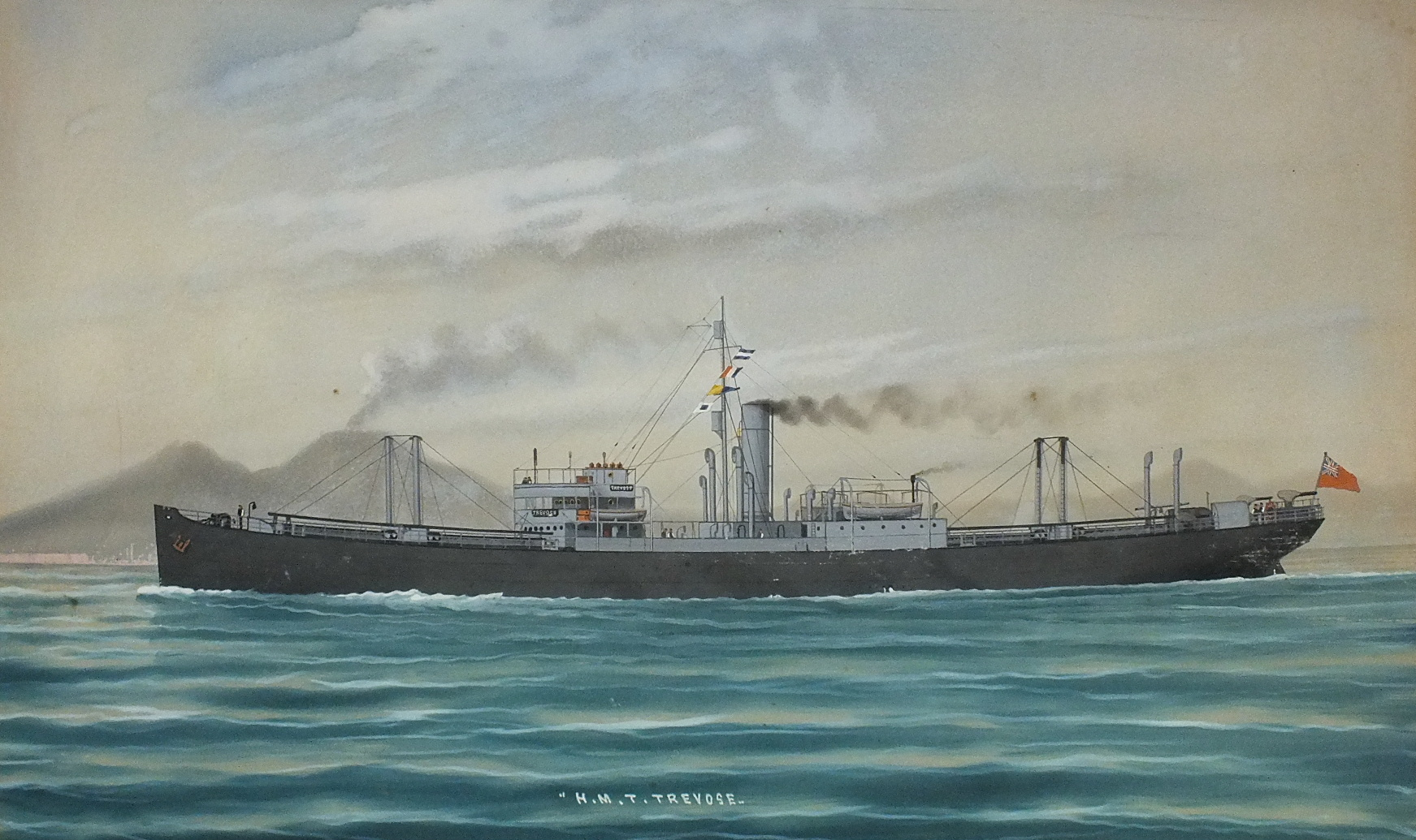 Neapolitan School SS TREVOSE AT SEA WITH ANOTHER VESSEL ON THE HORIZON Unsigned gouache, titled, - Image 2 of 2