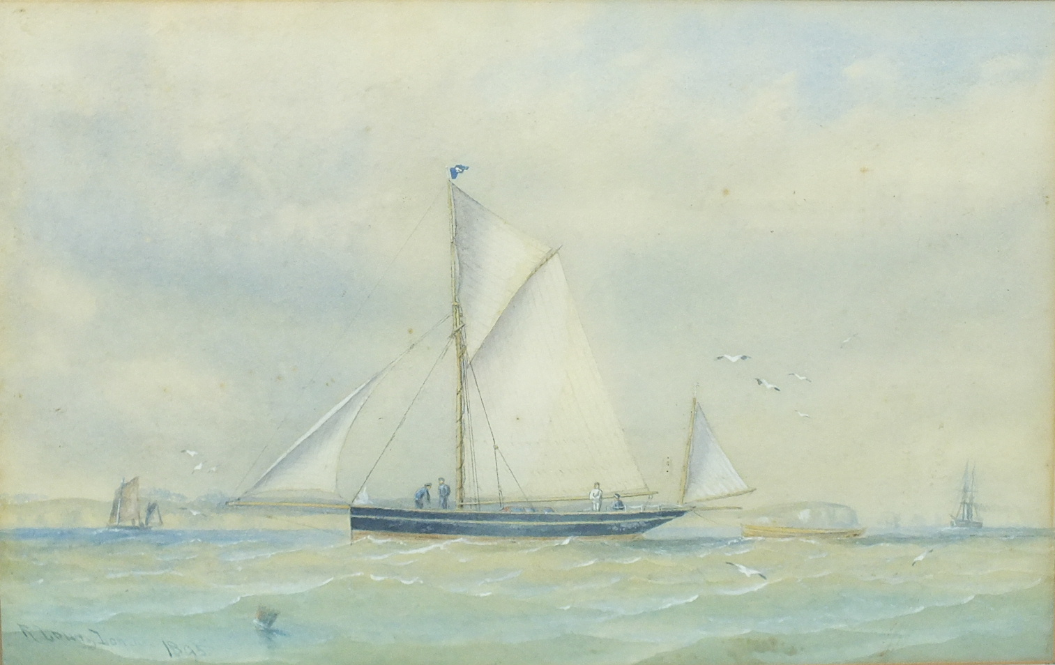 Lot 85 - R Lowry Lomax (19th/20th century) YACHT THISTLE Signed watercolour, dated 1895 and titled on label