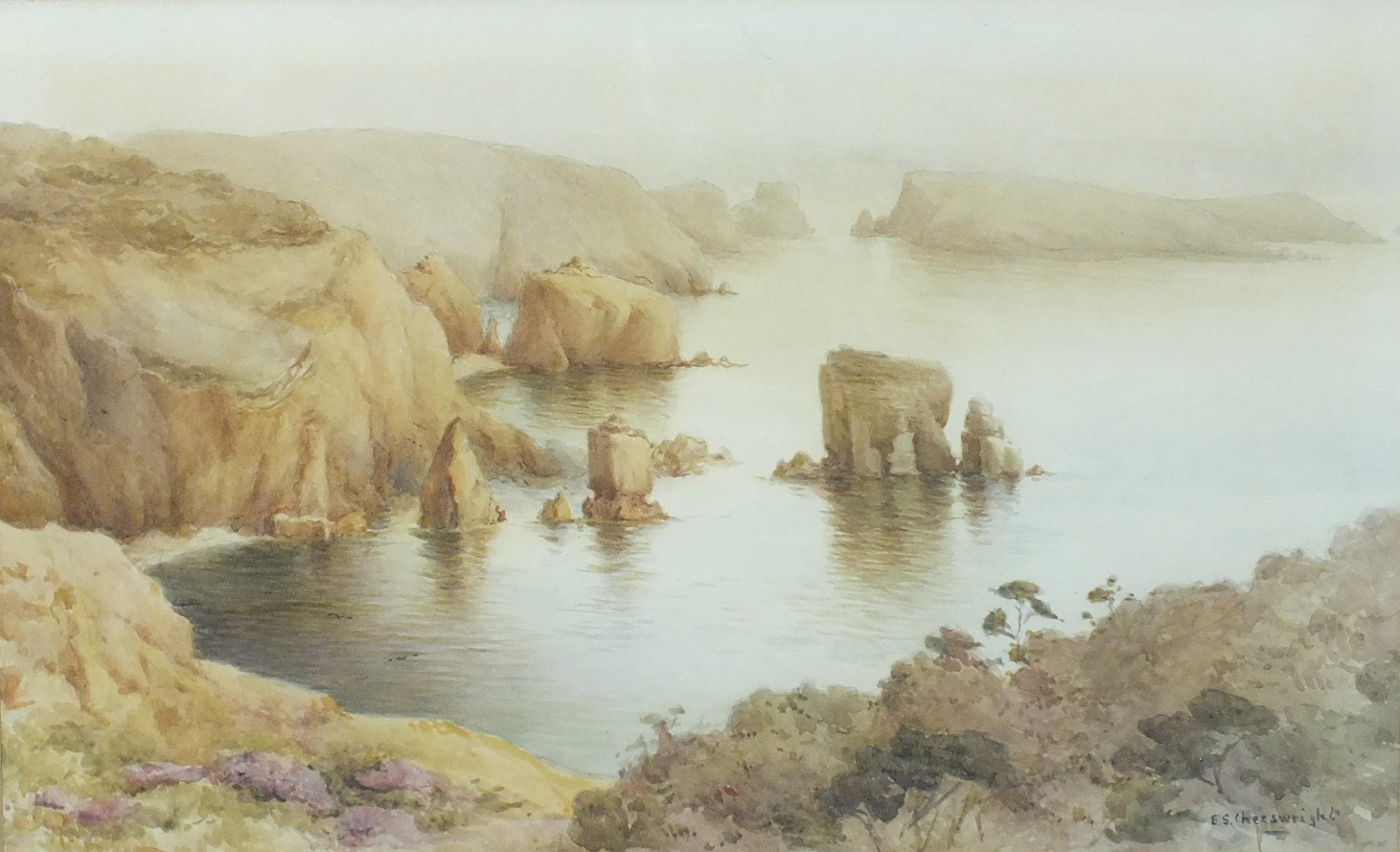 Lot 71 - •Ethel Sophia Cheeswright (1874-1977) LES AUTELETS AND BRECQHOU FROM THE SARK CLIFFS Signed