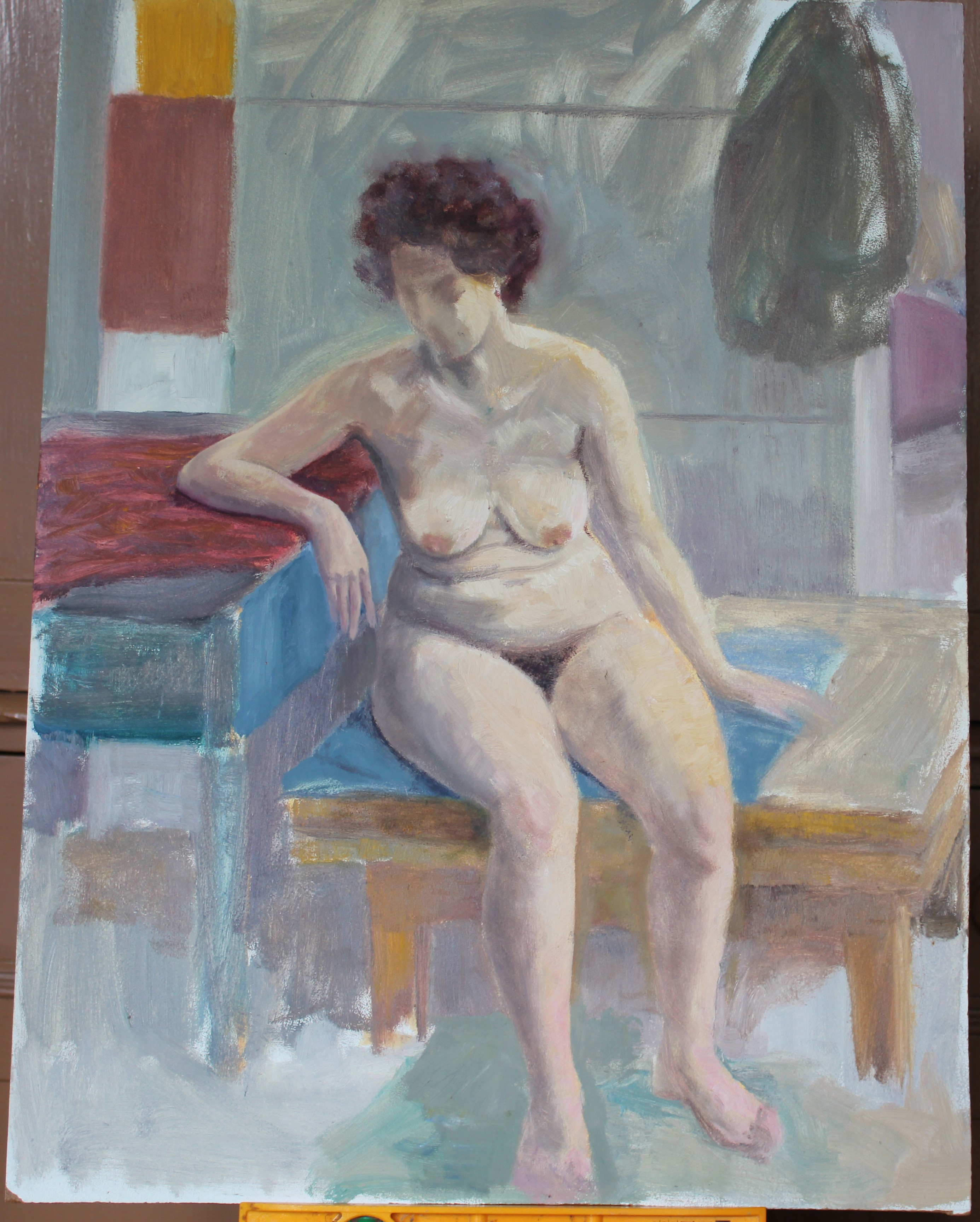 •STUDY OF A NUDE WOMAN IN GREEN-DRAPED ARMCHAIR Unsigned unframed oil on board, 40 x 31cm, STUDY - Image 4 of 7
