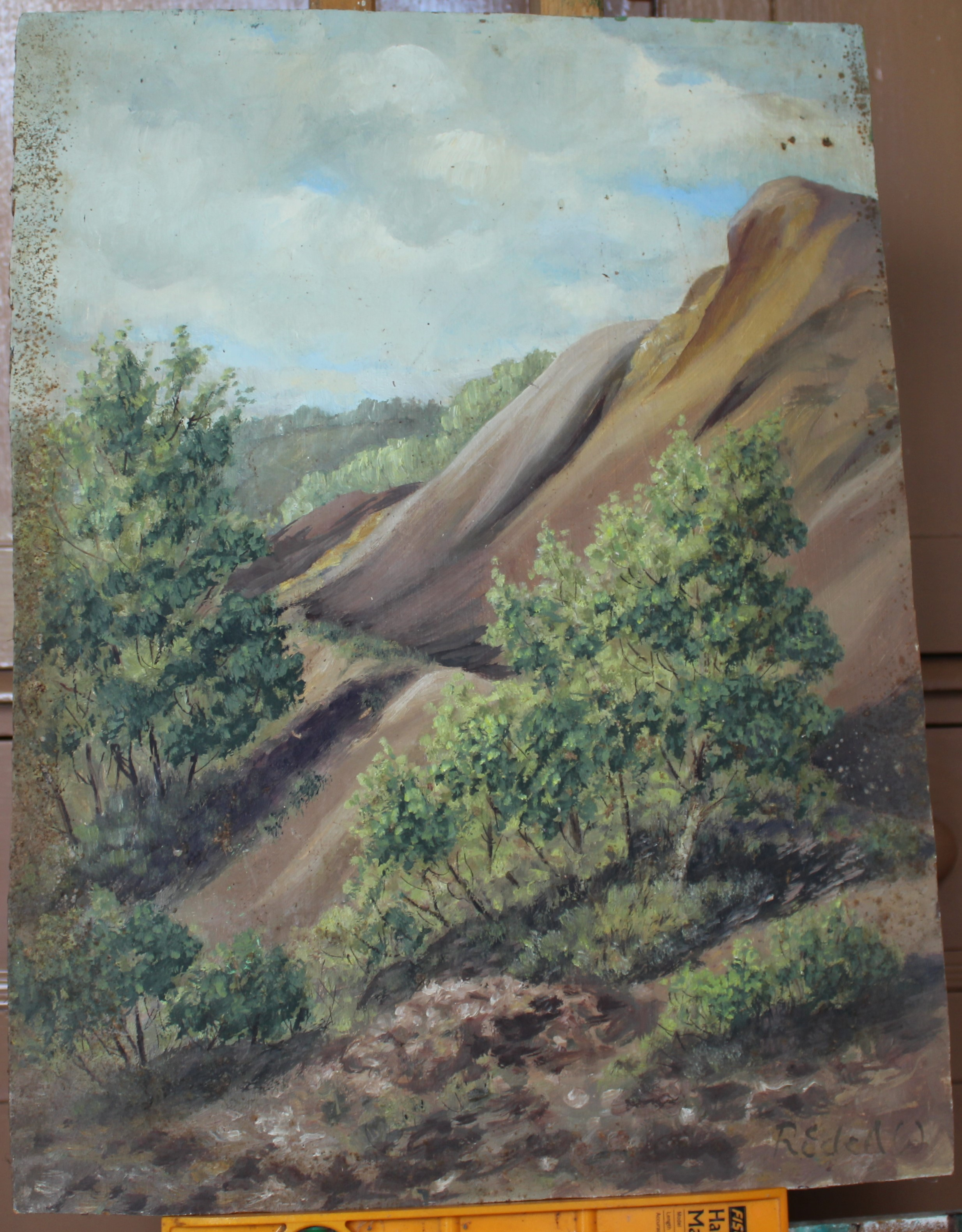 •A collection of fourteen unsigned and signed unframed landscape oil paintings on board, including - Image 11 of 11