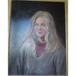 •PORTRAIT OF YOUNG WOMAN WITH BLONDE HAIR Signed framed oil on board, 59 x 43.5cm.