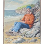 •AN ELDERLY MAN SITTING AGAINST ROCKS ON A BEACH CONTEMPLATING HOLDING A PIPE Signed unframed oil on
