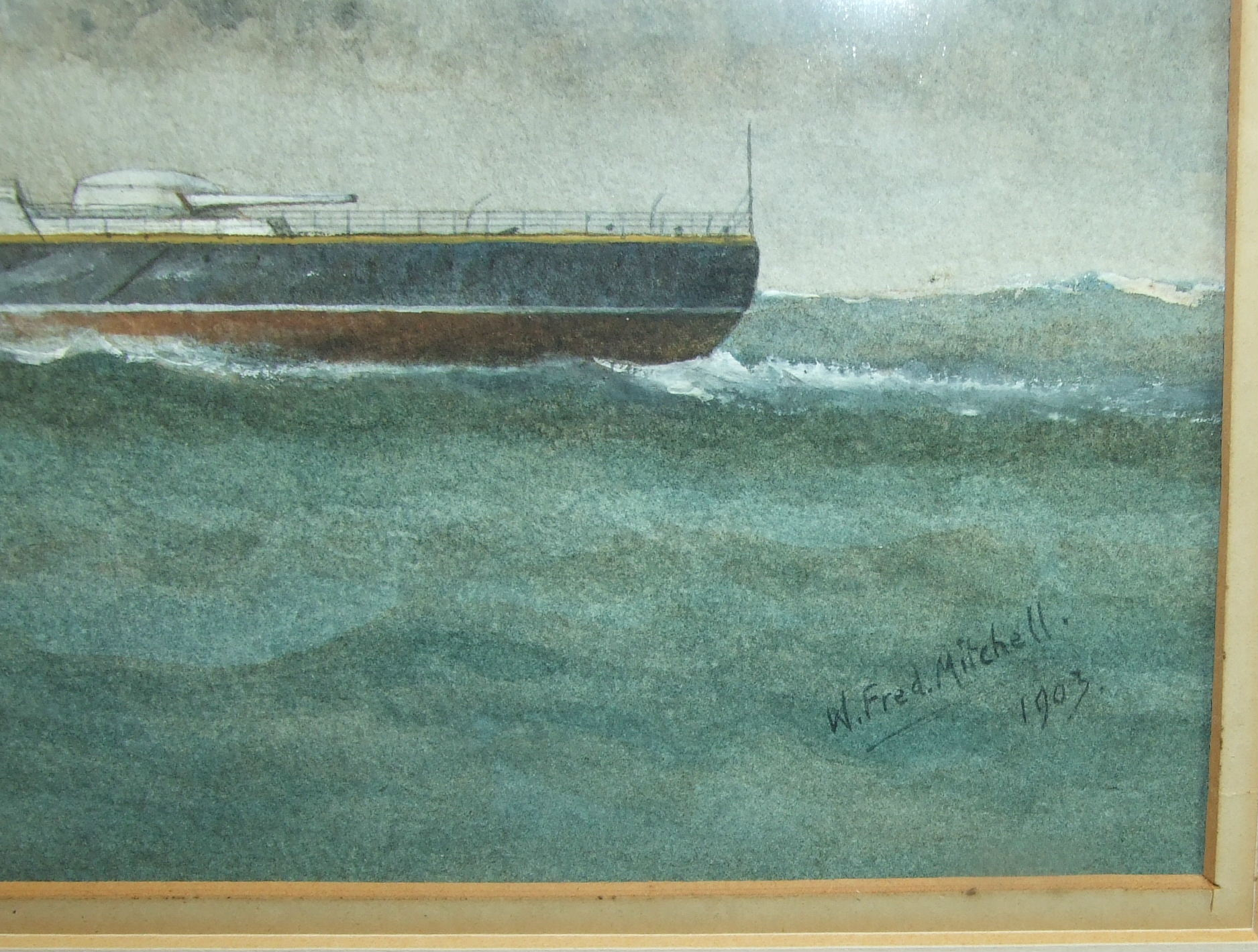 W Fred Mitchell (1845-1914) HMS CAMPERDOWN Signed watercolour, dated 1903 and numbered 2076, 24.5 - Image 2 of 3