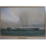 W Fred Mitchell (1845-1914) HMS CAMPERDOWN Signed watercolour, dated 1903 and numbered 2076, 24.5
