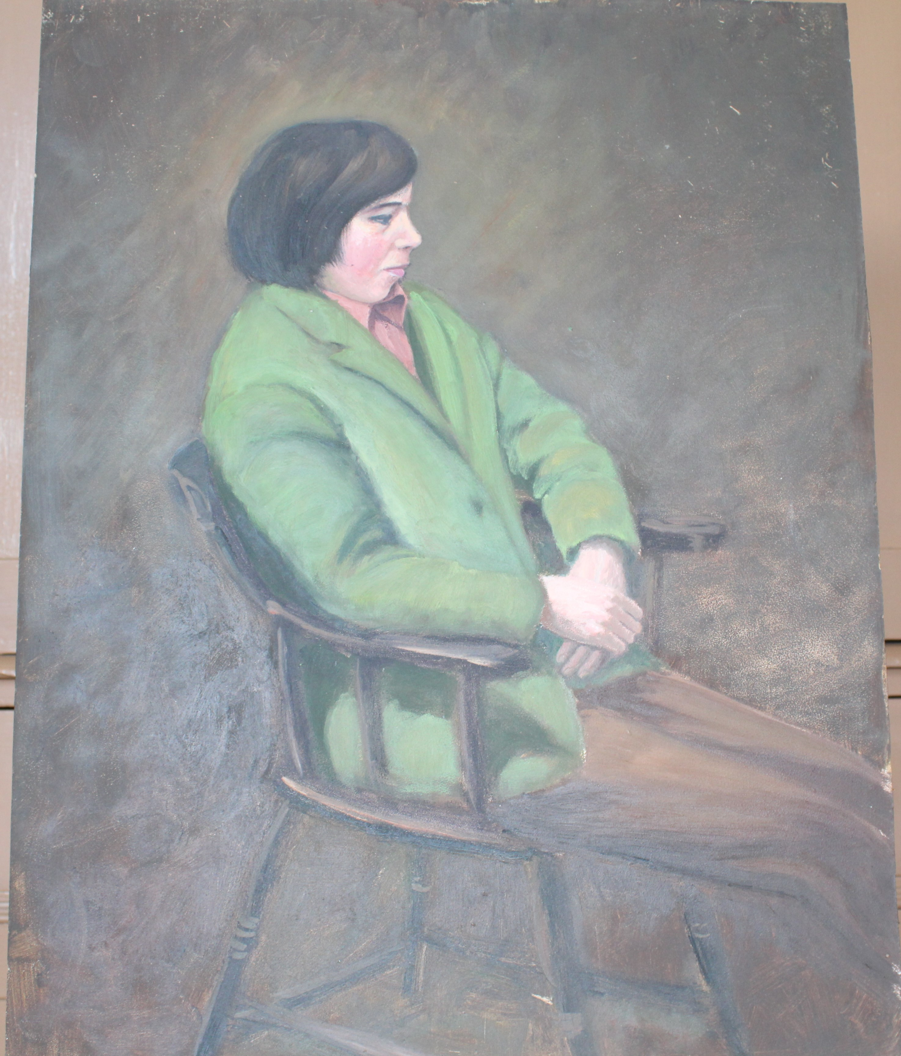 •DAY DREAM, WOMAN SEATED WEARING RED JACKET AND DRESS Signed unframed oil on board, 60 x 44.3cm, - Image 5 of 6