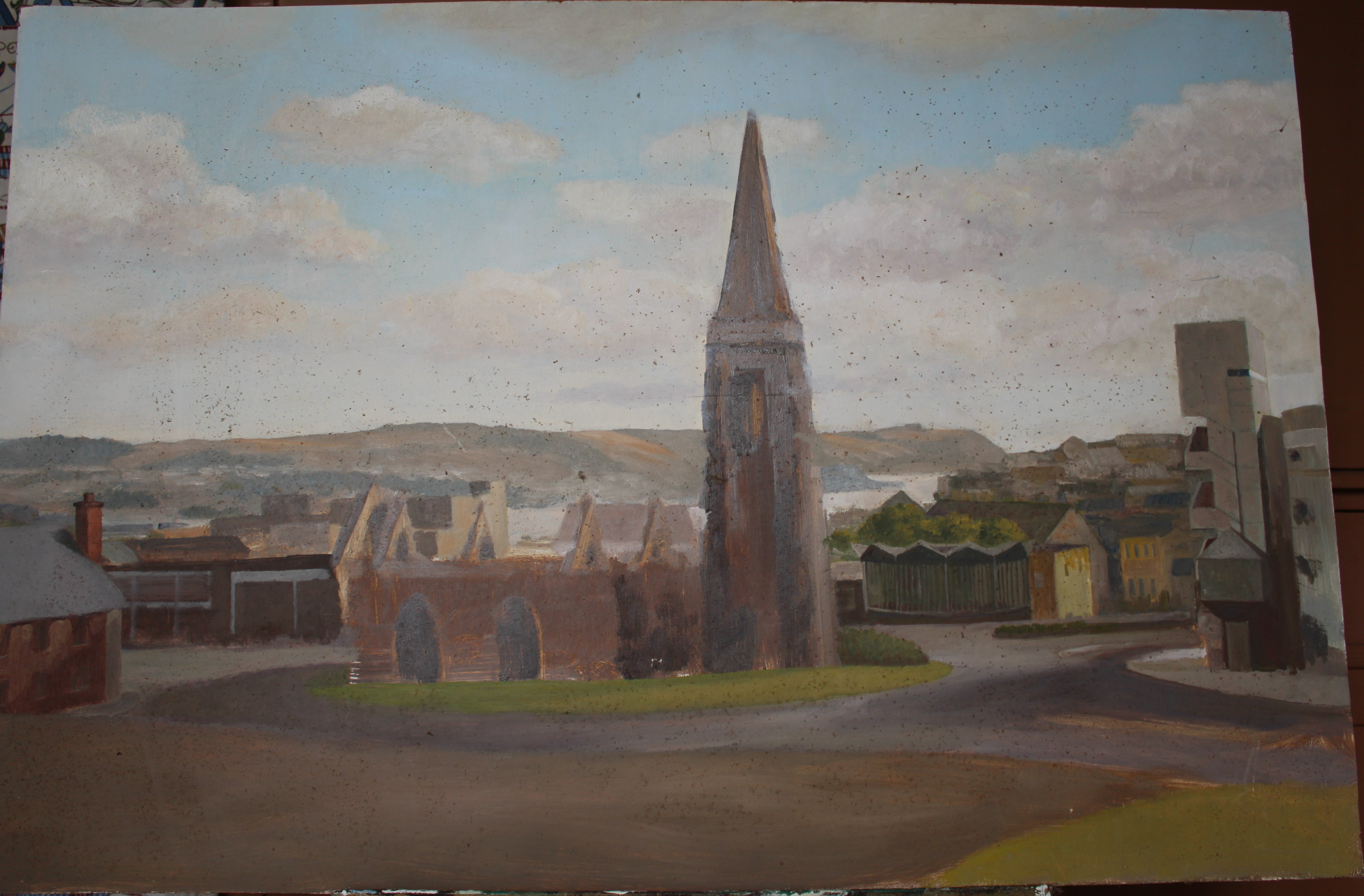 •CHARLES CHURCH, PLYMOUTH Unsigned unframed oil on board, 59.5 x 91cm.