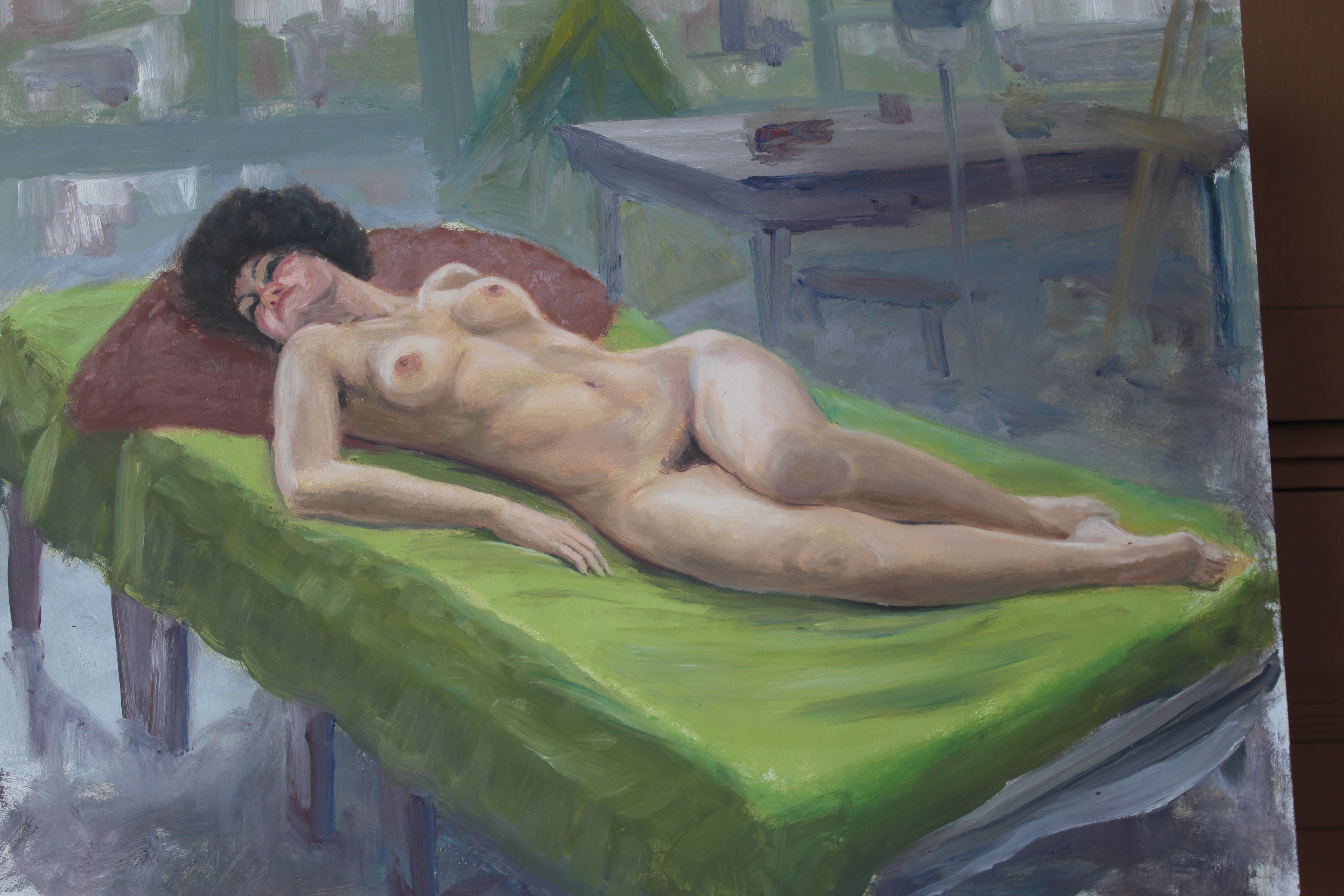 •STUDY OF A FEMALE NUDE RECLINING ON A DAY BED Unsigned unframed oil on board, 46 x 61cm, three