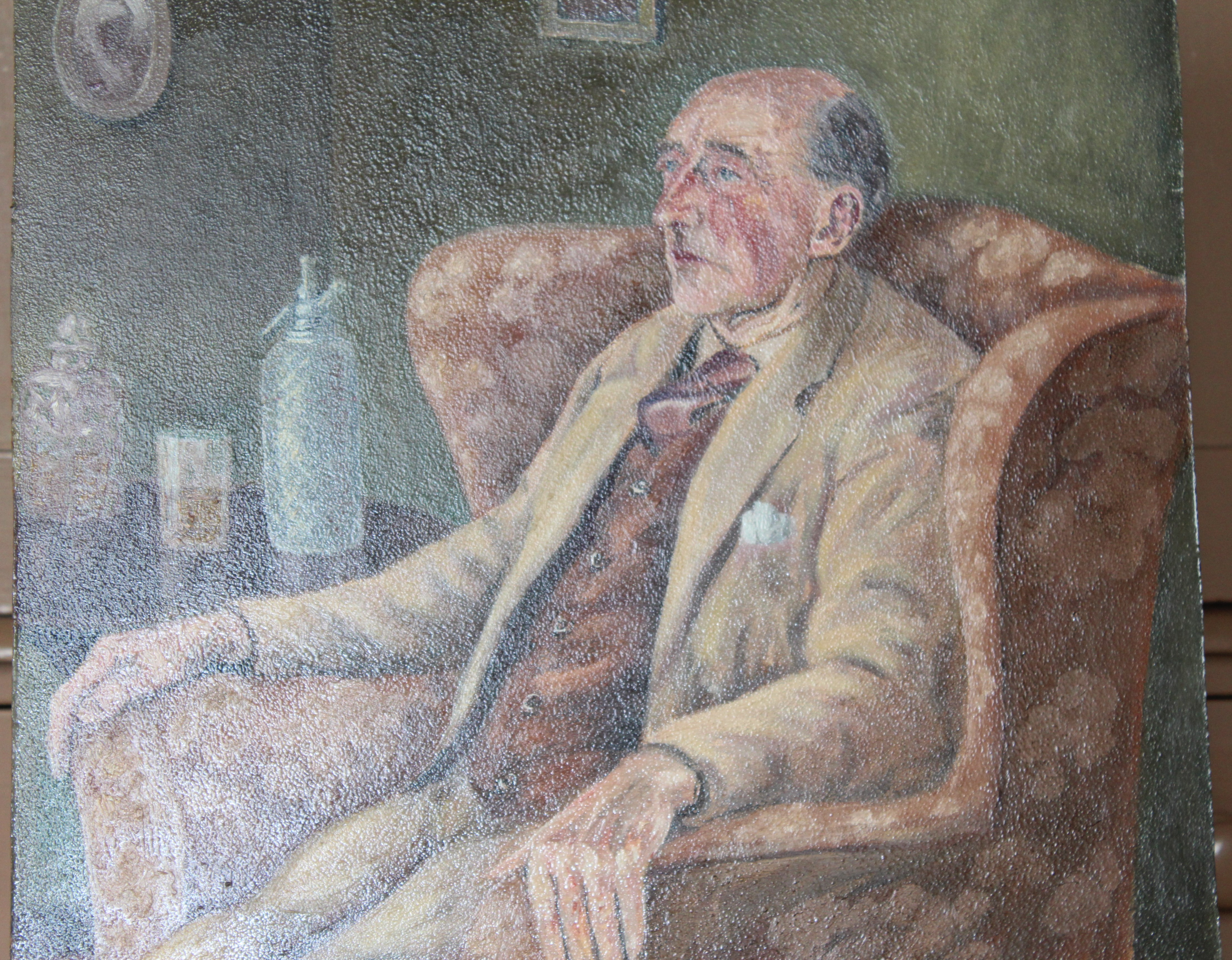 •COMMANDER HAMMET SEATED IN A WING ARMCHAIR Unsigned unframed oil on board, 50.5 x 40.5cm, titled