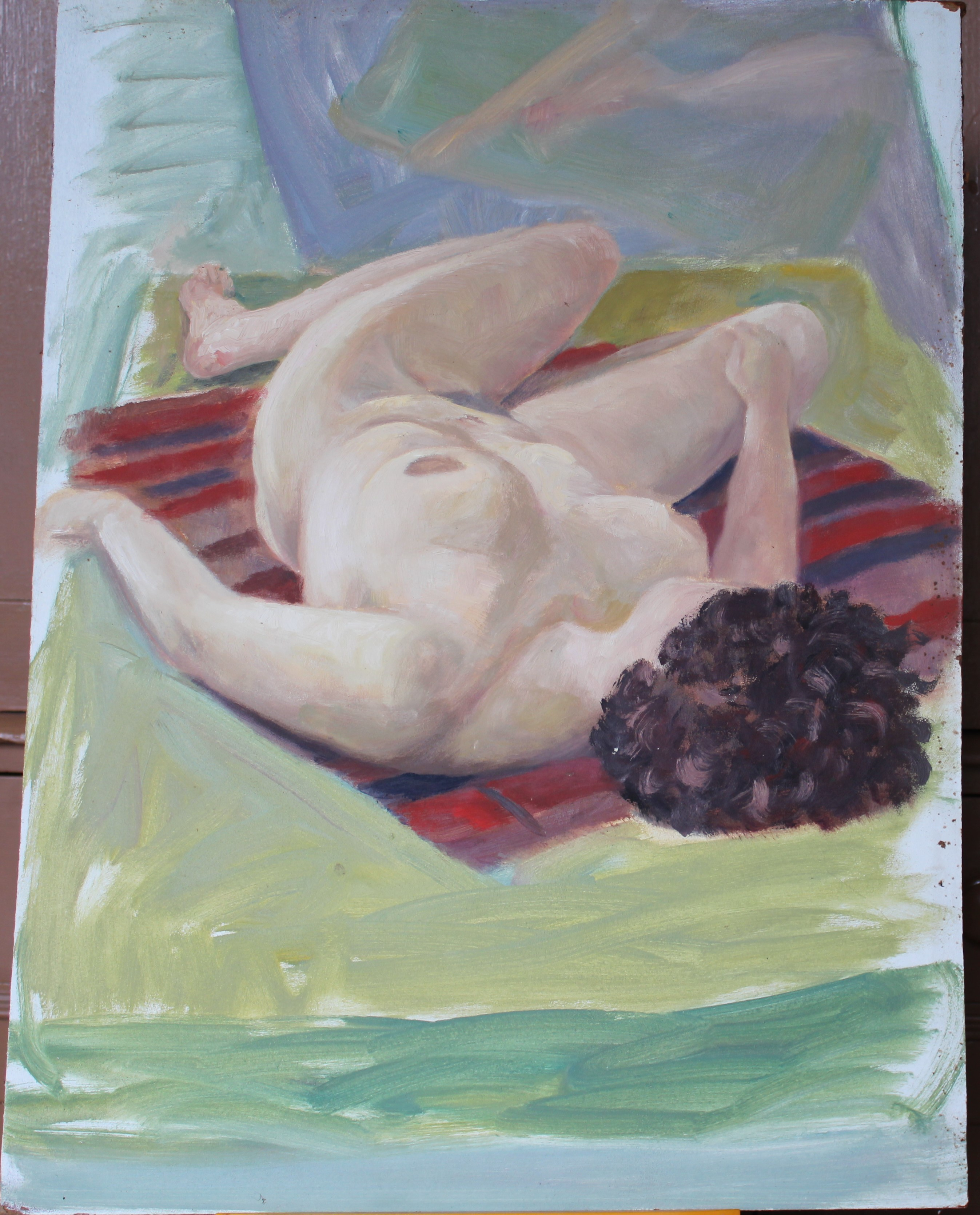 •STUDY OF A FEMALE NUDE RECLINING ON A DAY BED Unsigned unframed oil on board, 46 x 61cm, three - Image 2 of 4