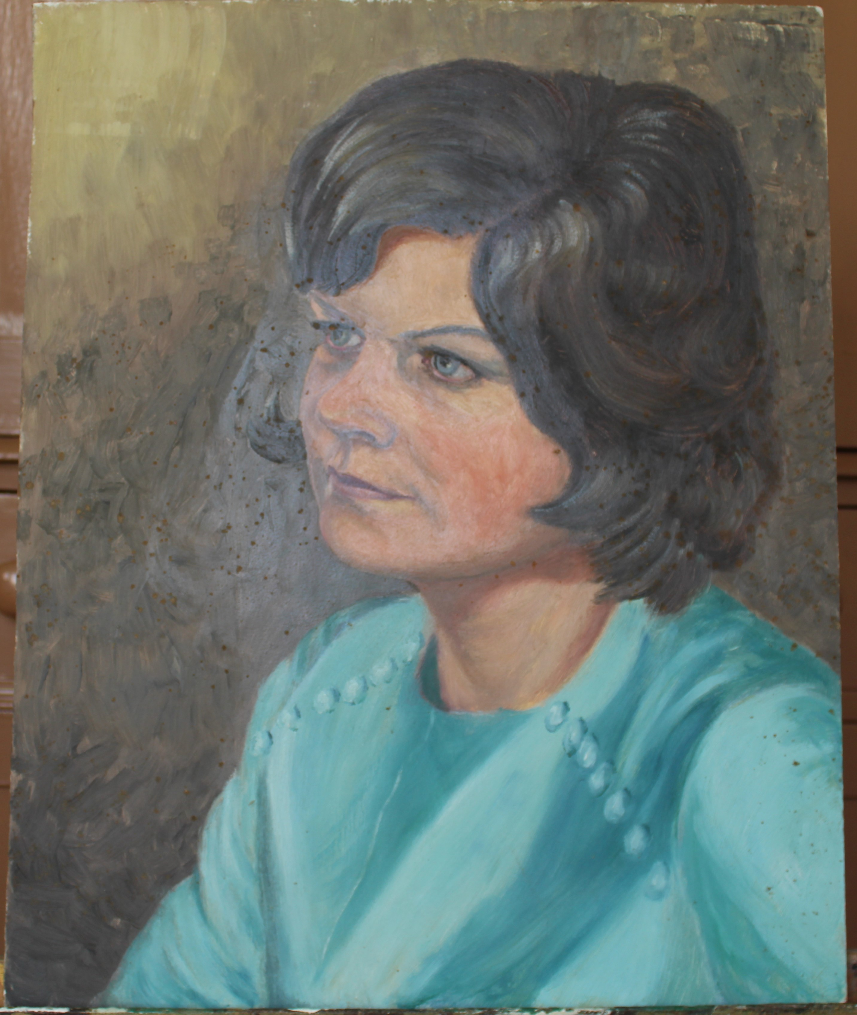 •PORTRAIT OF A WOMAN WEARING A BLUE TOP Unsigned unframed oil on board, 50 x 40.5cm and a collection