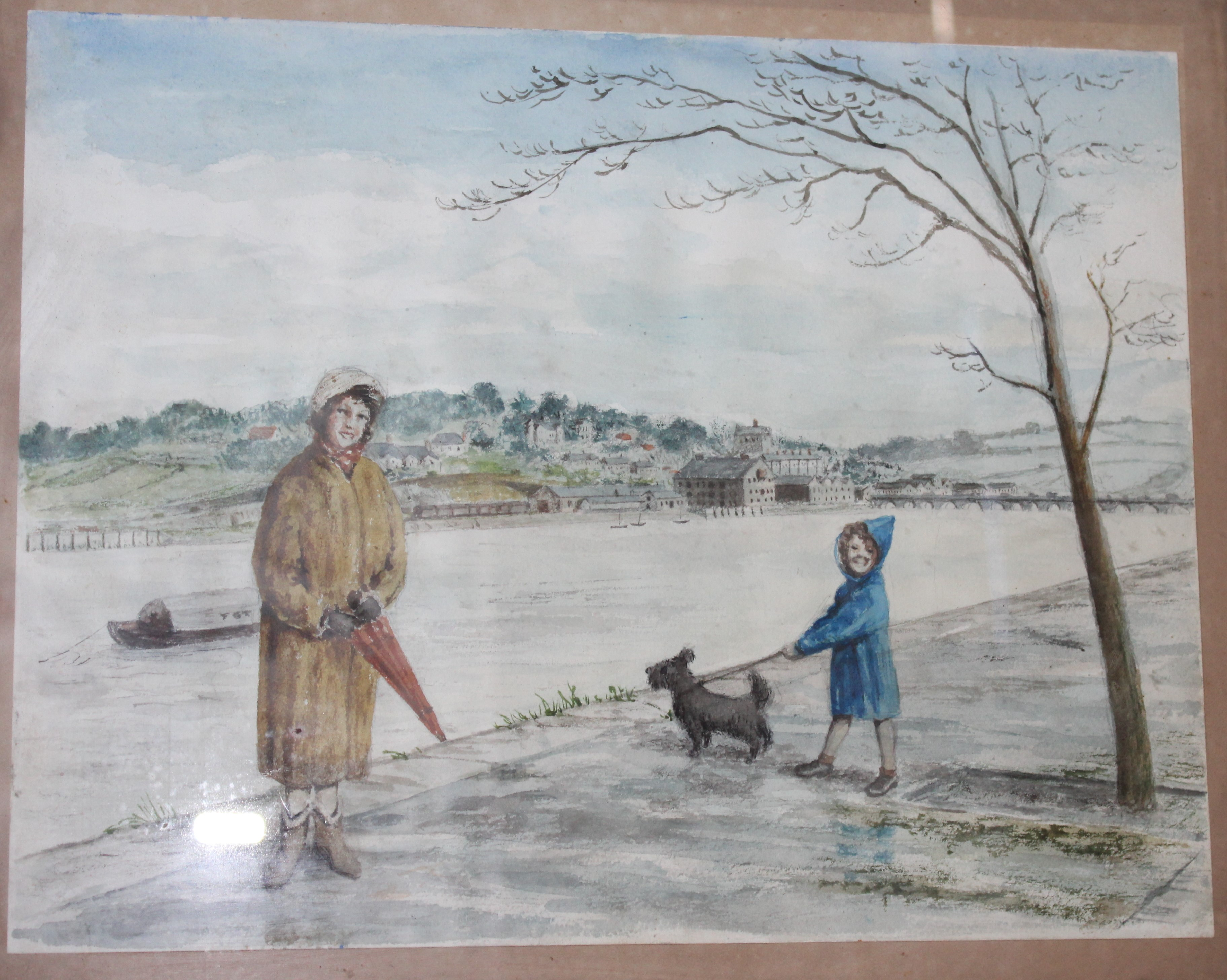 •BIDEFORD, WOMAN, CHILD AND DOG BESIDE RIVER Unsigned framed watercolour, 22.5 x 29cm, CALSTOCK
