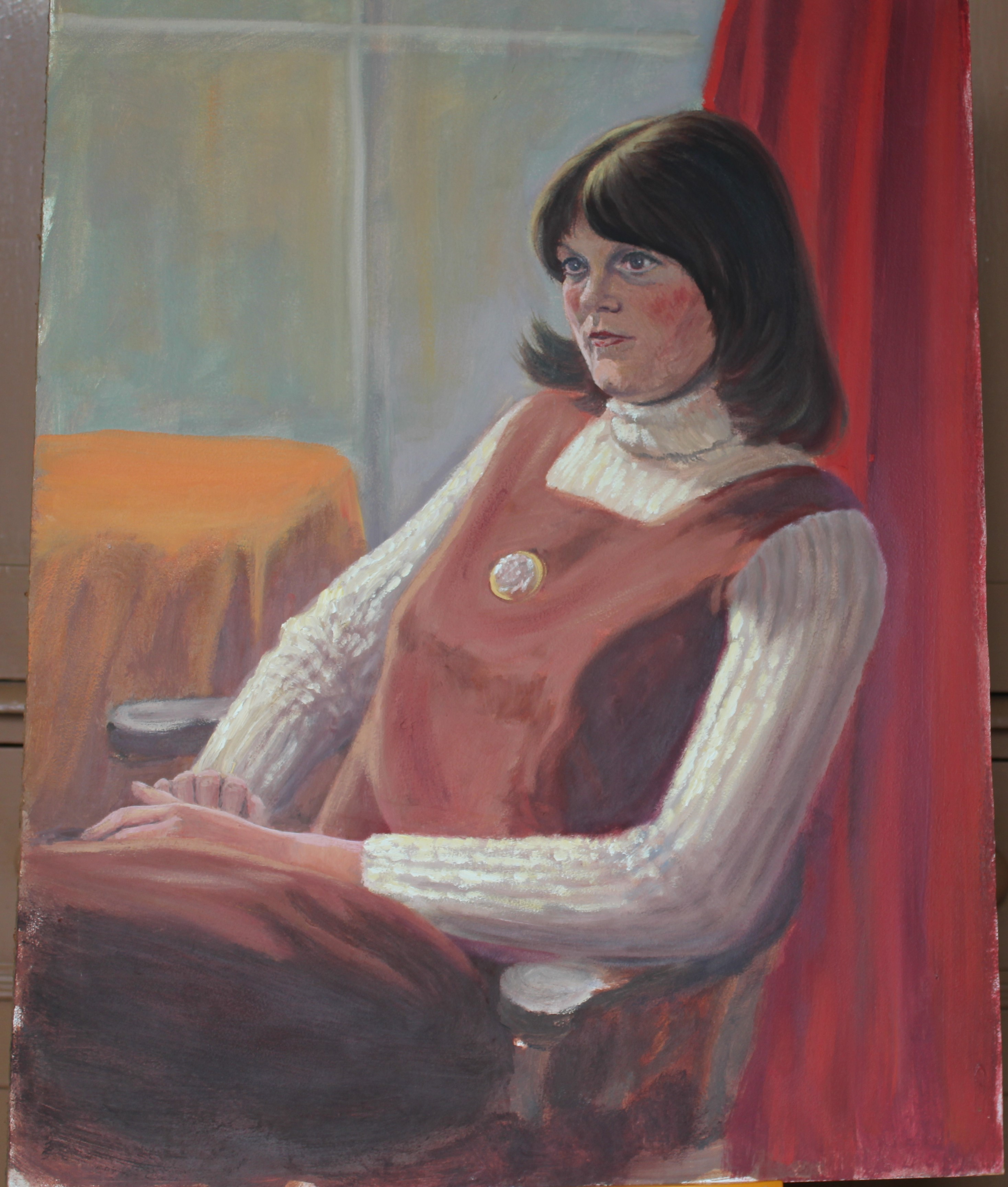 •YOUNG WOMAN SEATED ON CHAISE LONGUE Unsigned unframed oil on board, 61 x 45cm and six other oils of - Image 5 of 7