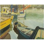 •WATCH BELOW, A YOUNG GIRL ASLEEP IN A ROWING BOAT Signed unframed oil on board, 60 x 75.5cm, titled