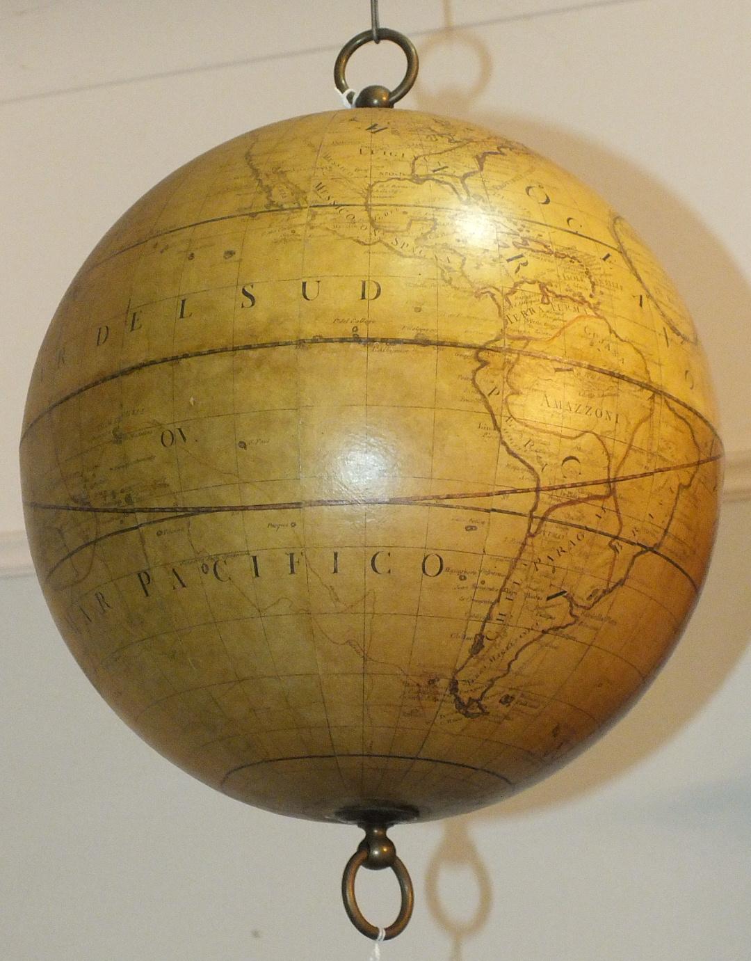 Lot 318 - Greaves & Thomas Globe Terrestré, a reproduction hanging terrestrial globe, 32cm diameter, 48cm