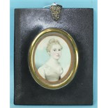 19th century, an oval miniature portrait of a young lady wearing a white lace-trimmed dress,