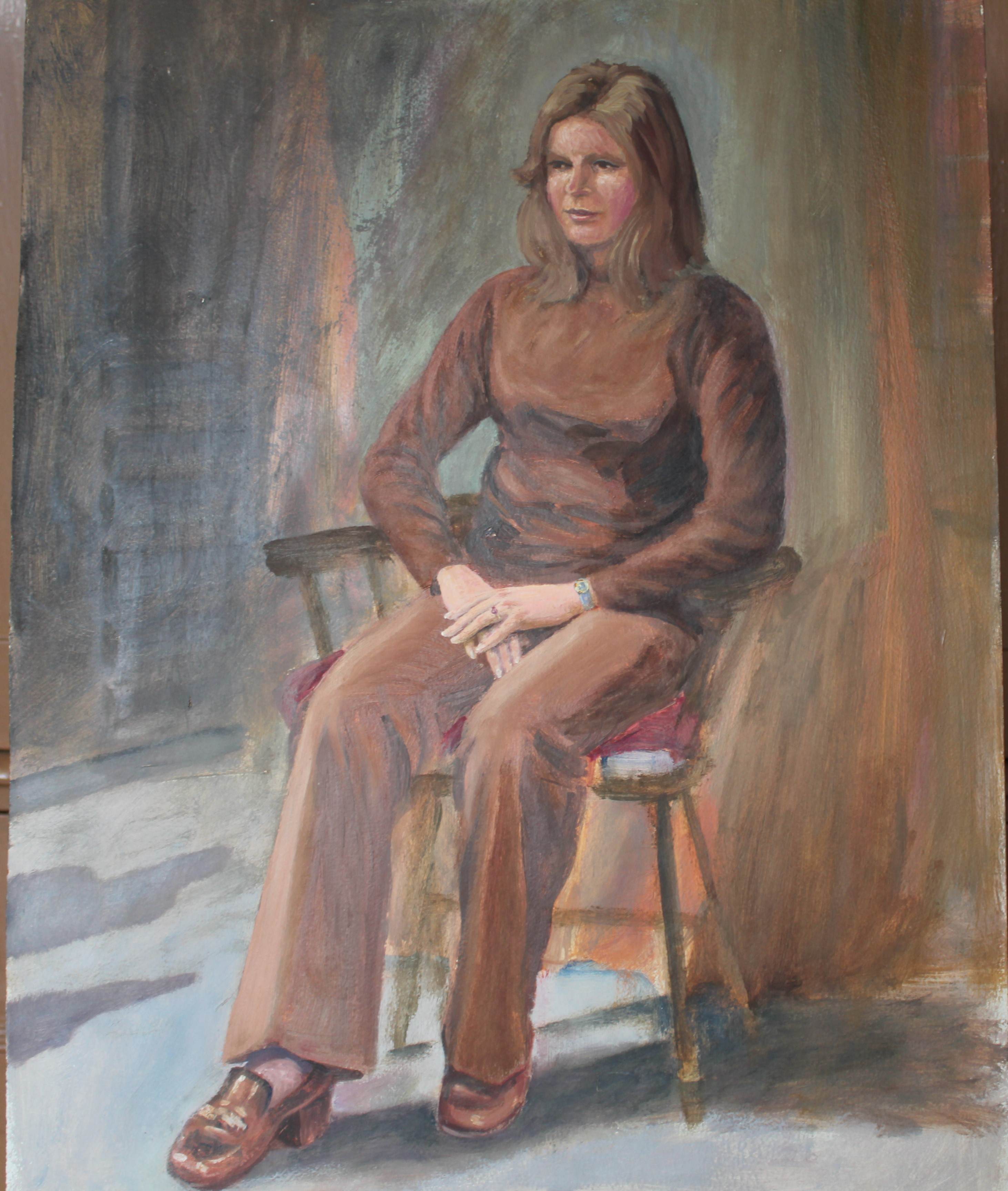 •DAY DREAM, WOMAN SEATED WEARING RED JACKET AND DRESS Signed unframed oil on board, 60 x 44.3cm, - Image 3 of 6