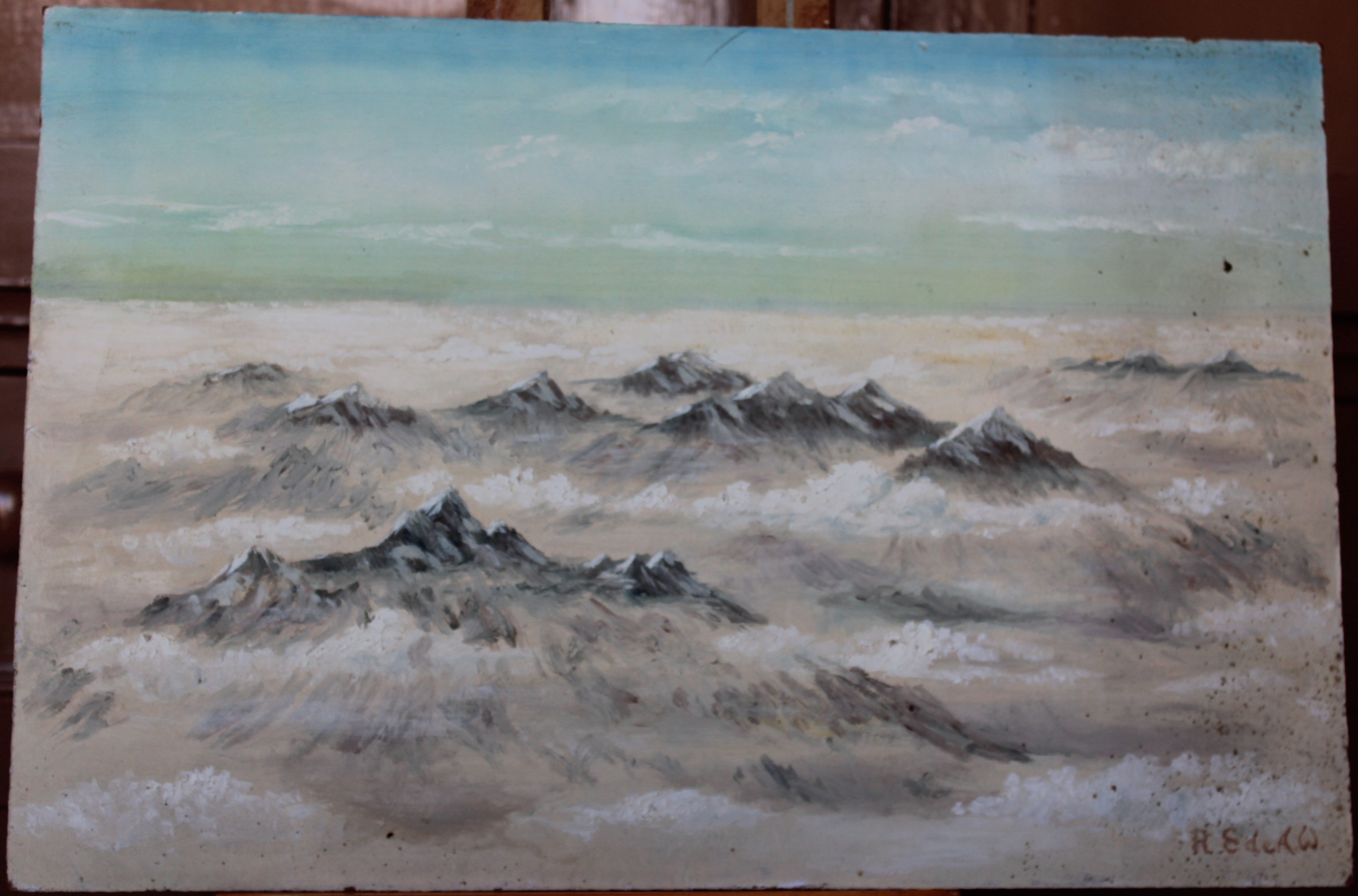 •STUDY OF THE ALPS FROM THE AIR Signed unframed oil on board, 41 x 61cm and another similar view, 30 - Image 2 of 2