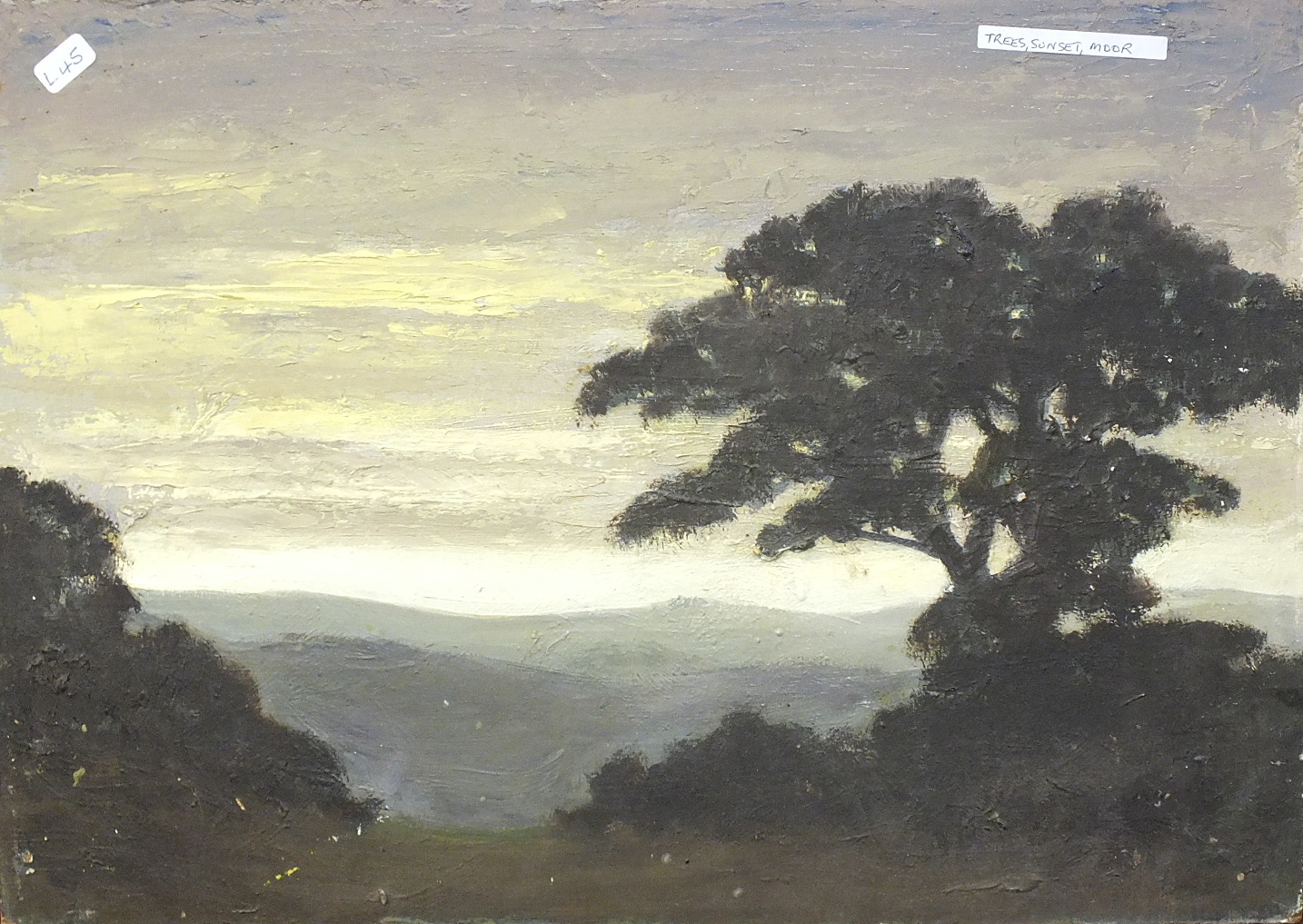 •MOORLAND SUNSET LANDSCAPE WITH TREES Unsigned unframed oil on board, 25.3 x 35cm.