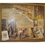 •THE ARNO, VIGNETTES SHOWING THE FLOODS IN FLORENCE 1966 Signed framed oil on board, dated 2-67,