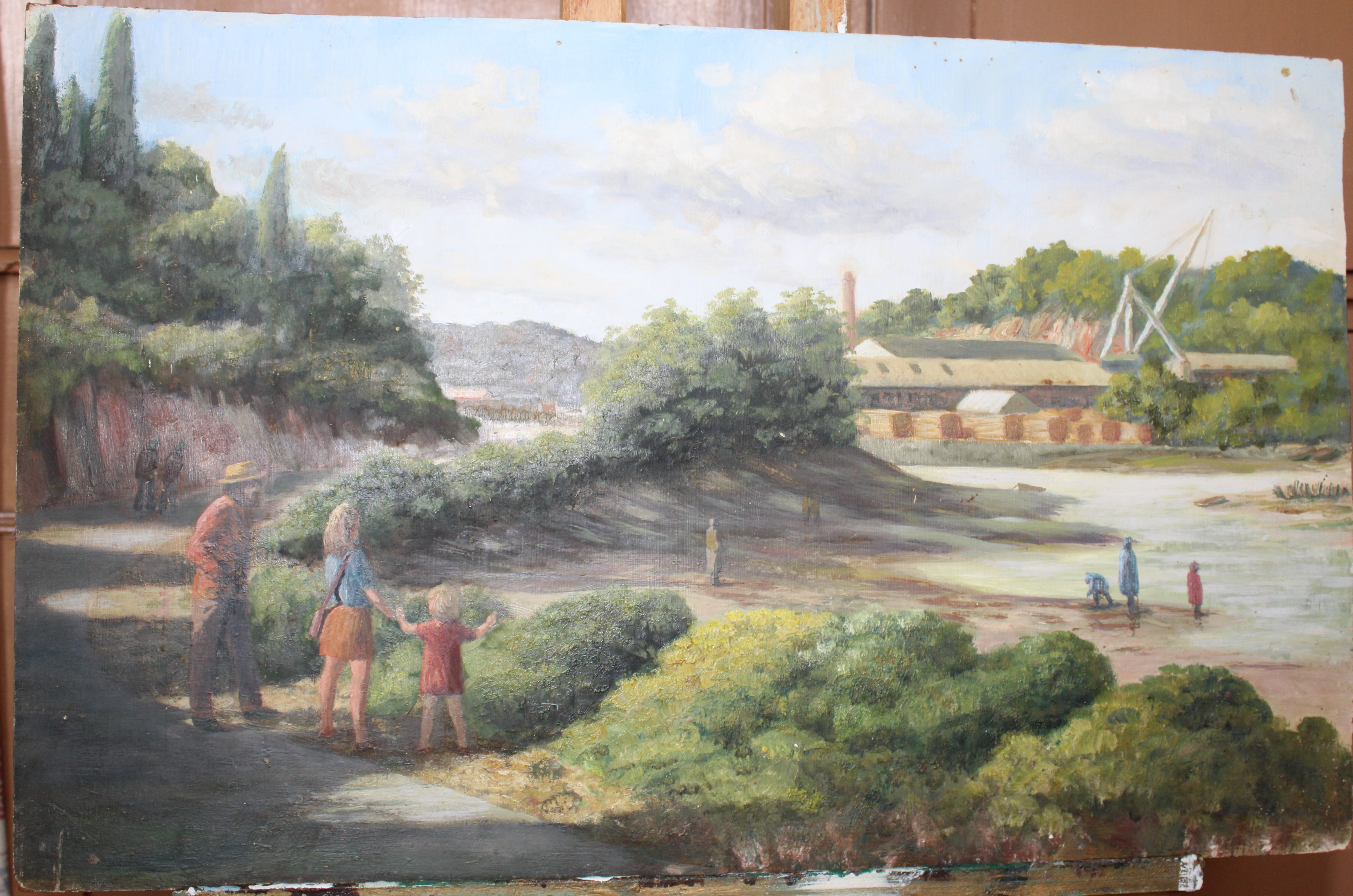 •WILMINSTONE QUARRY Signed unframed oil on board, 45.5 x 61cm, FIGURE WITH BUCKET WALKING ALONG - Image 3 of 4
