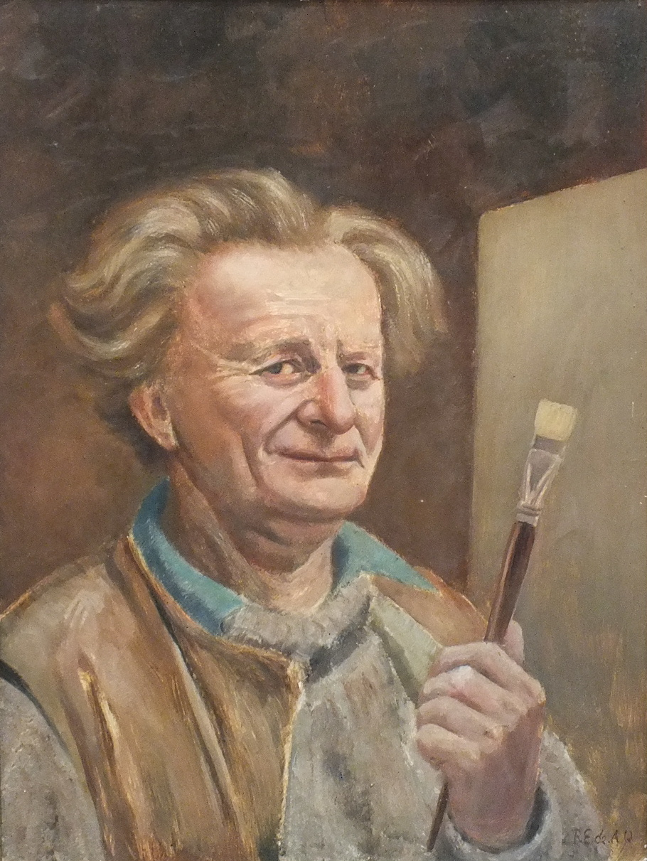 •SELF-PORTRAIT, THE ARTIST HOLDING A PAINTBRUSH Signed framed oil on board, 60 x 44cm.