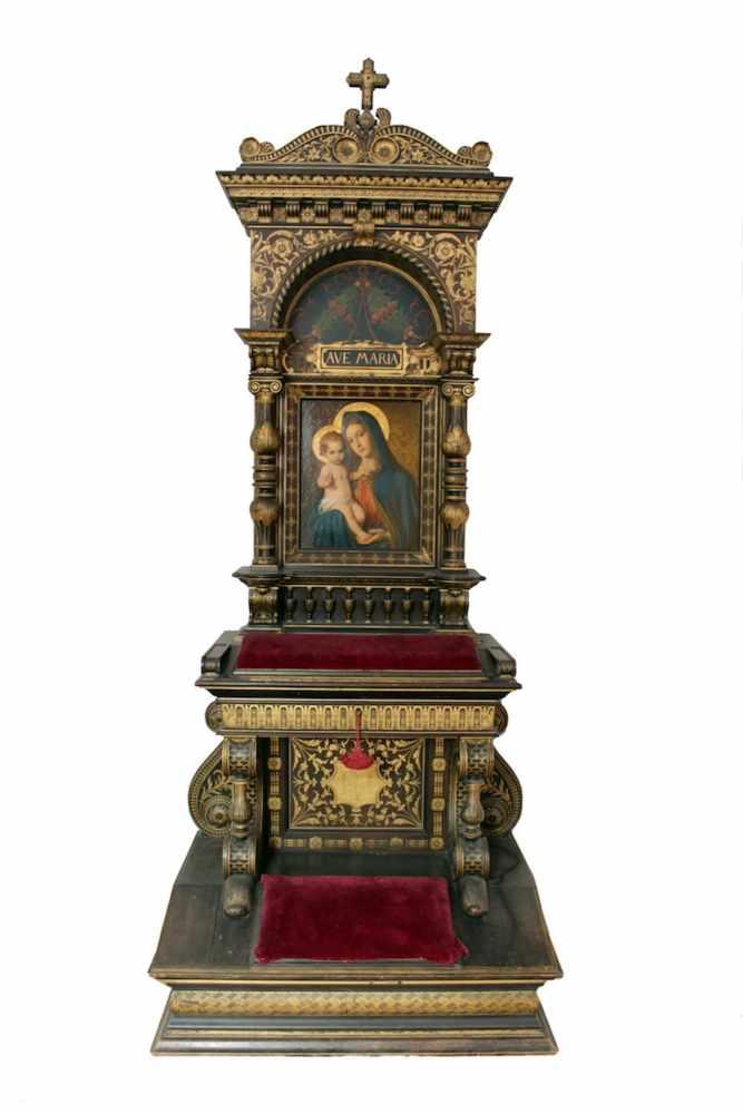 HAUSALTAR Holz, teilweise vergoldet, Bildnis Madonna mit Jesuskind, Teophil Melicher (1860 -