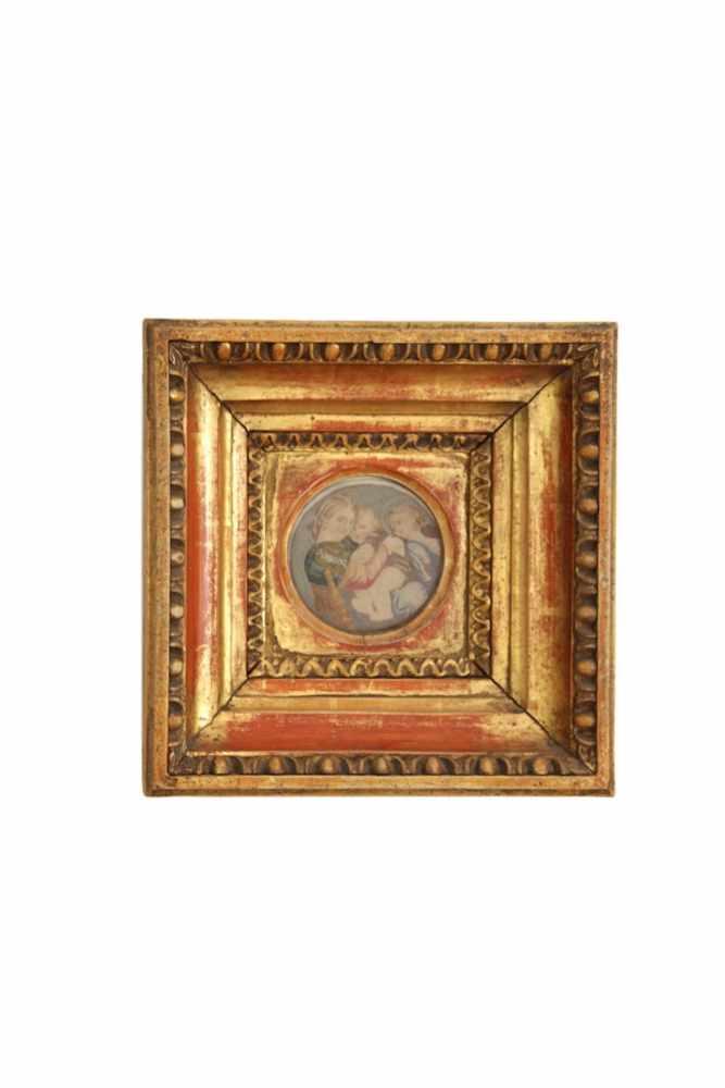 HEILIGENBILD Kleines Heiligenbild in blattvergoldetem Ochsenaugen Holzrahmen, Gesamtmaße 23 x 23 cm