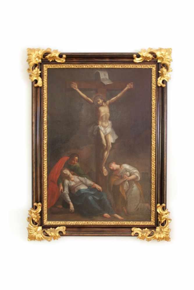 KREUZIGUNG JESU CHRISTI Maler unbekannt, um 1760, Öl auf Leinwand, 88 x 60 cm, in barockem