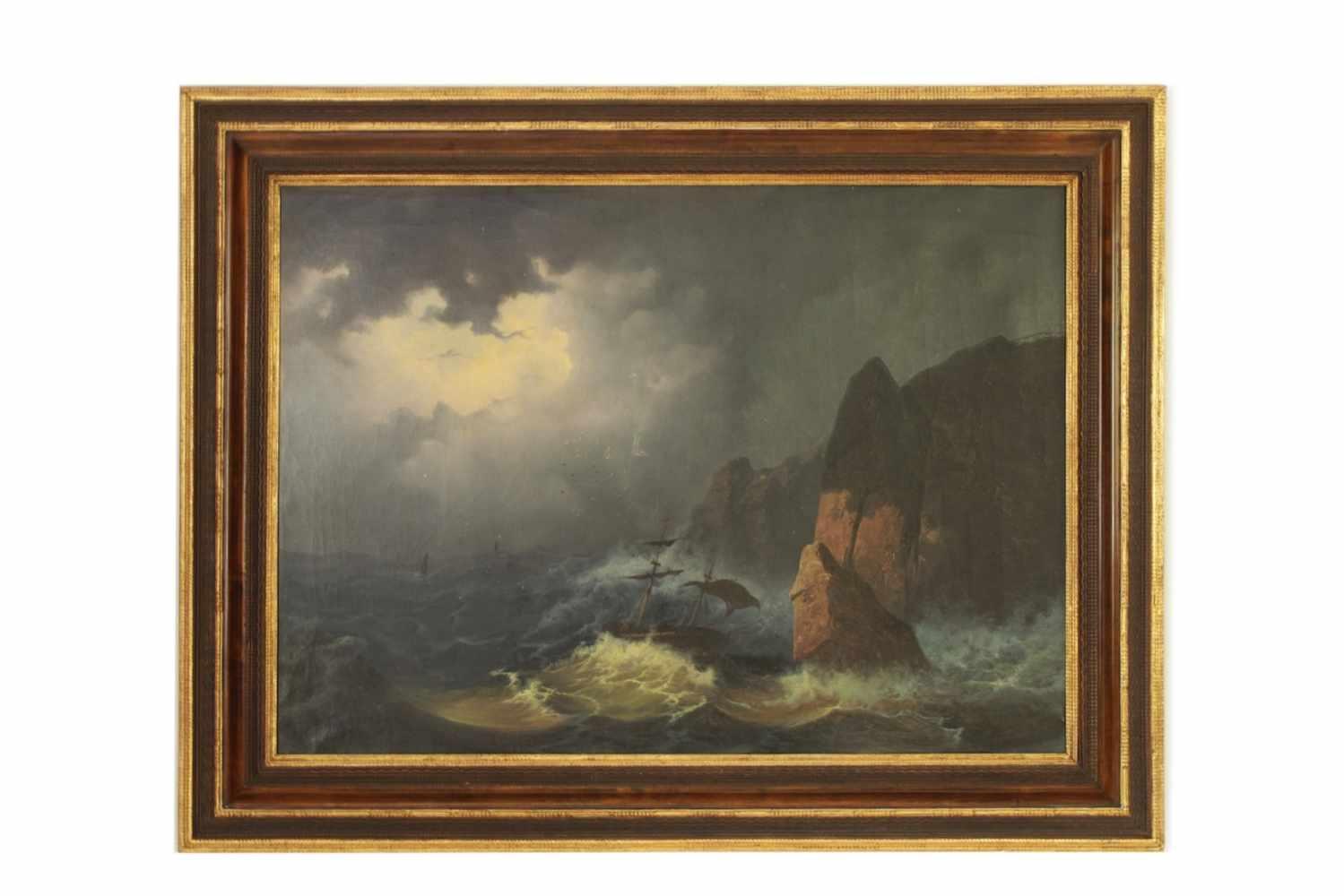 SCHIFF BEI SCHWEREM SEEGANG Bildnis eines Schiffes bei sehr schwerem Seegang, Öl auf Leinwand, 98