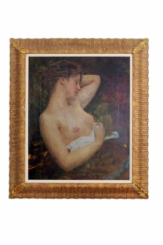 BILDNIS EINER NACKTEN DAME Albert Ritzberger (1853 - 1915), Öl auf Leinwand, 68 x 56 cm, in