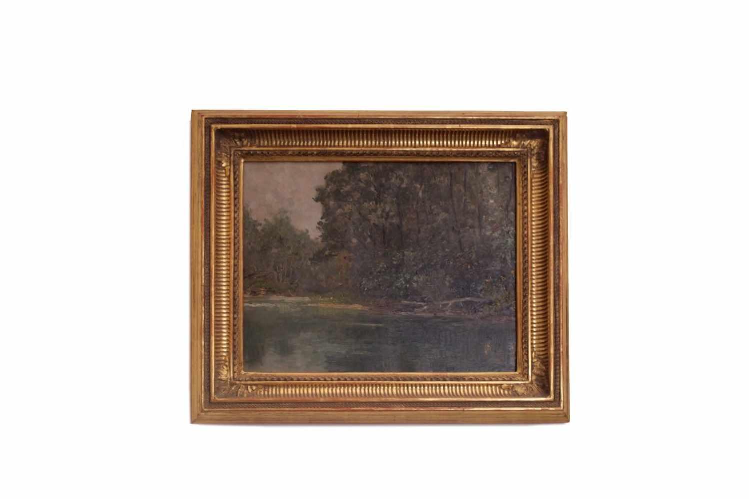 SOMMERLANDSCHAFT Kleines Sommerlandschaftsbild, Öl auf Holz, 33 x 28 cm, in blattvergoldetem