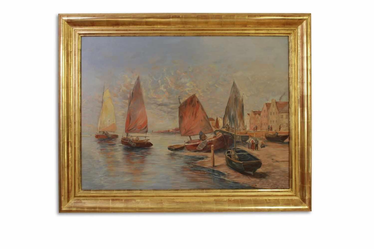 SEEBILD Seebild mit Fischerbooten und kleiner Hafenstadt, Georg Fischhoff (1859 - 1914), Öl auf