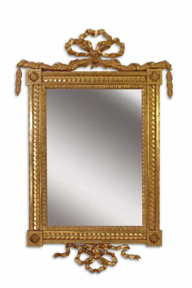 EMPIRESTILSPIEGEL Wunderschöner Empirestilspiegel, 66 x 44 cm, blattvergoldeter Rahmen,