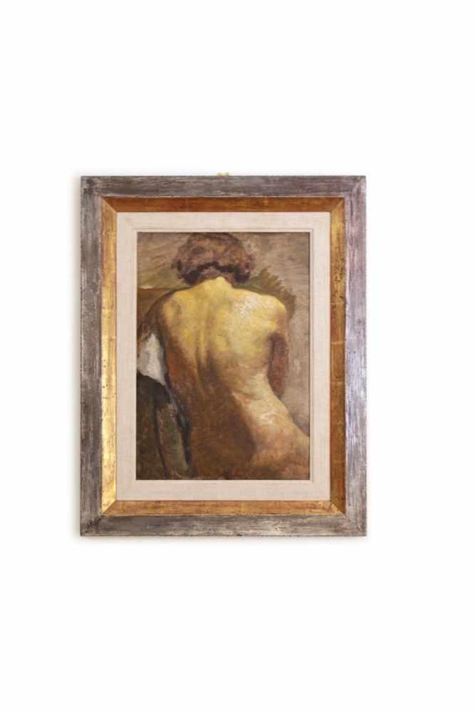 BILDNIS EINER NACKTEN DAME Maler unbekannt, um 1925, Öl auf Holz, 47 x 33 cm, in silber-goldfarbigem